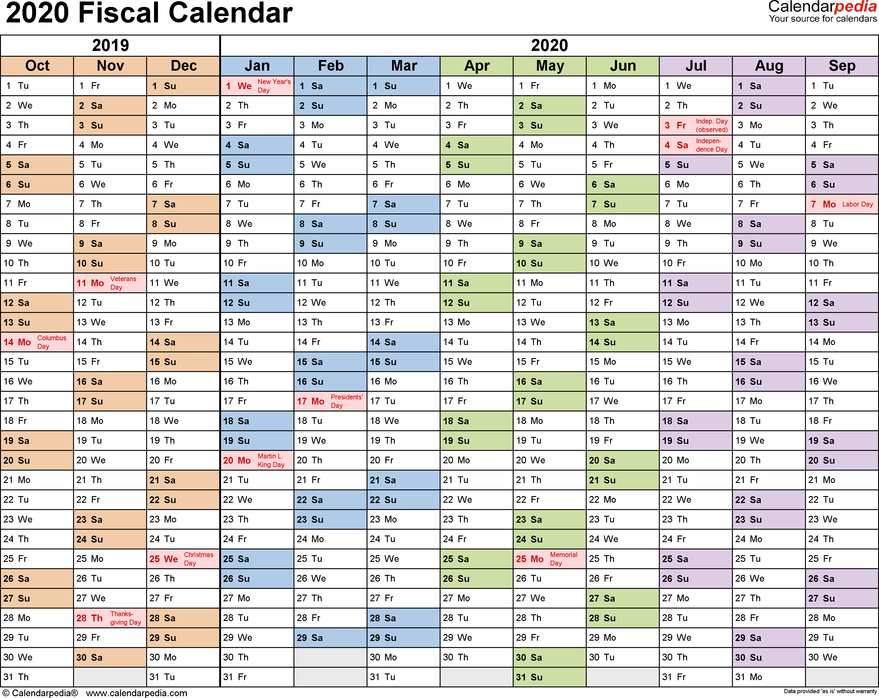 2020 Fiscal Year Calendar - Wpa.wpart.co