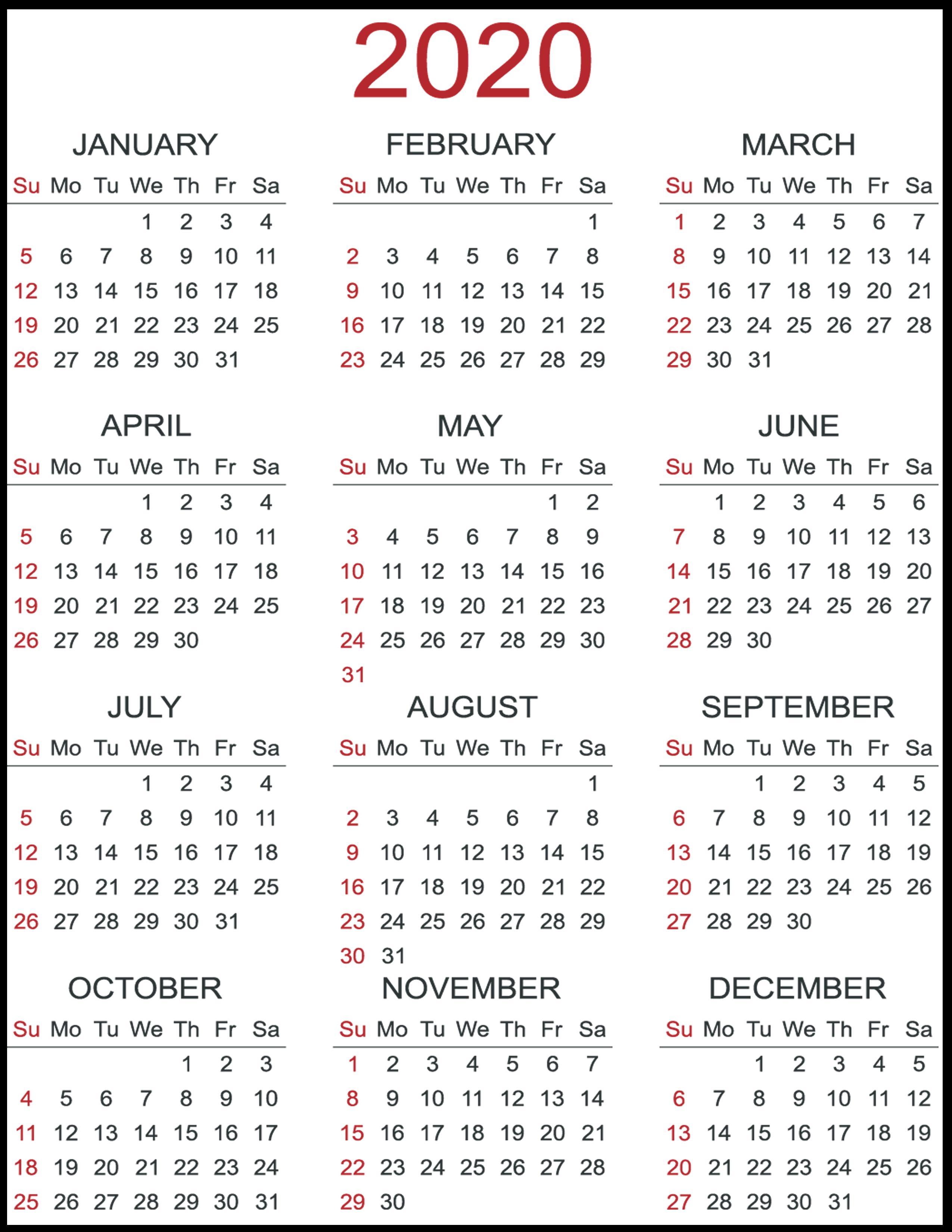 2020 Free Calendar - Wpa.wpart.co