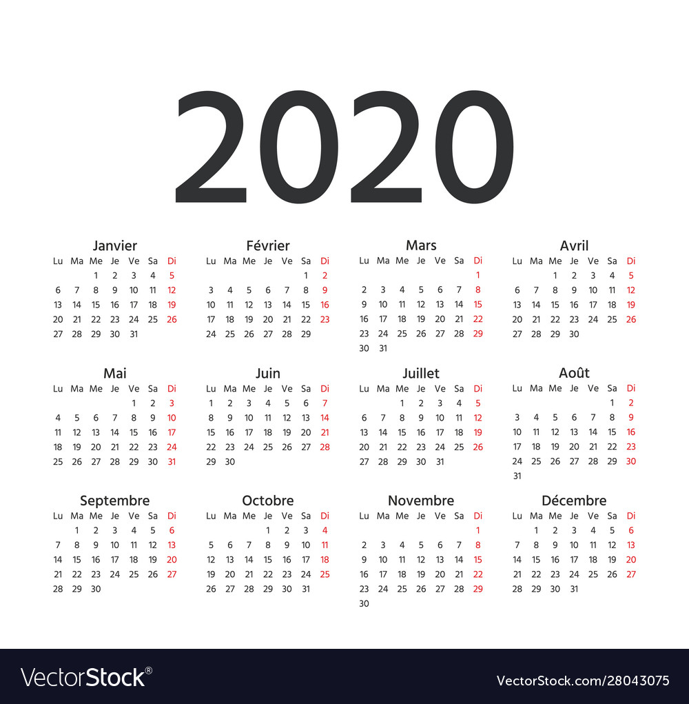 2020 French Calendar Template Year Planner
