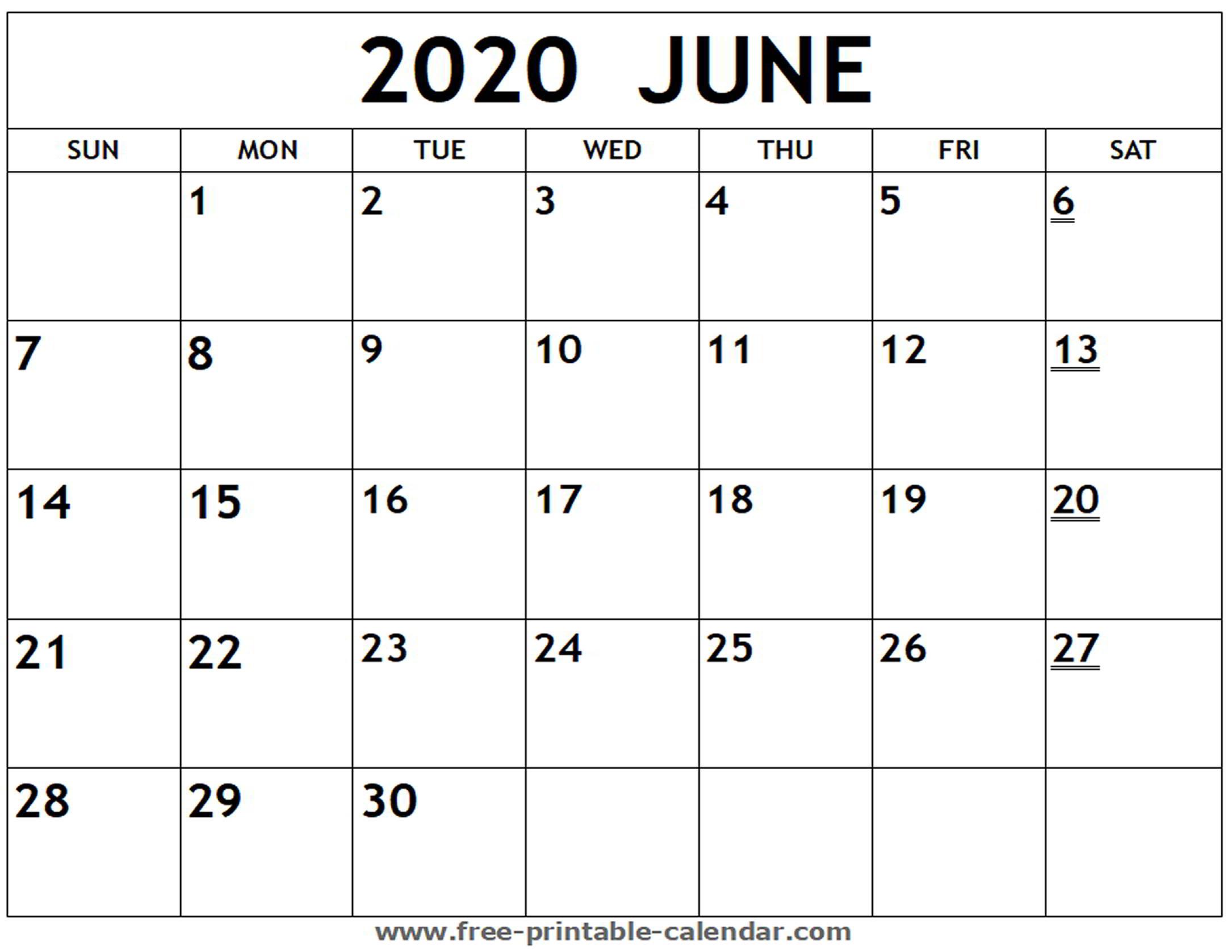 2020 June Calendar - Wpa.wpart.co