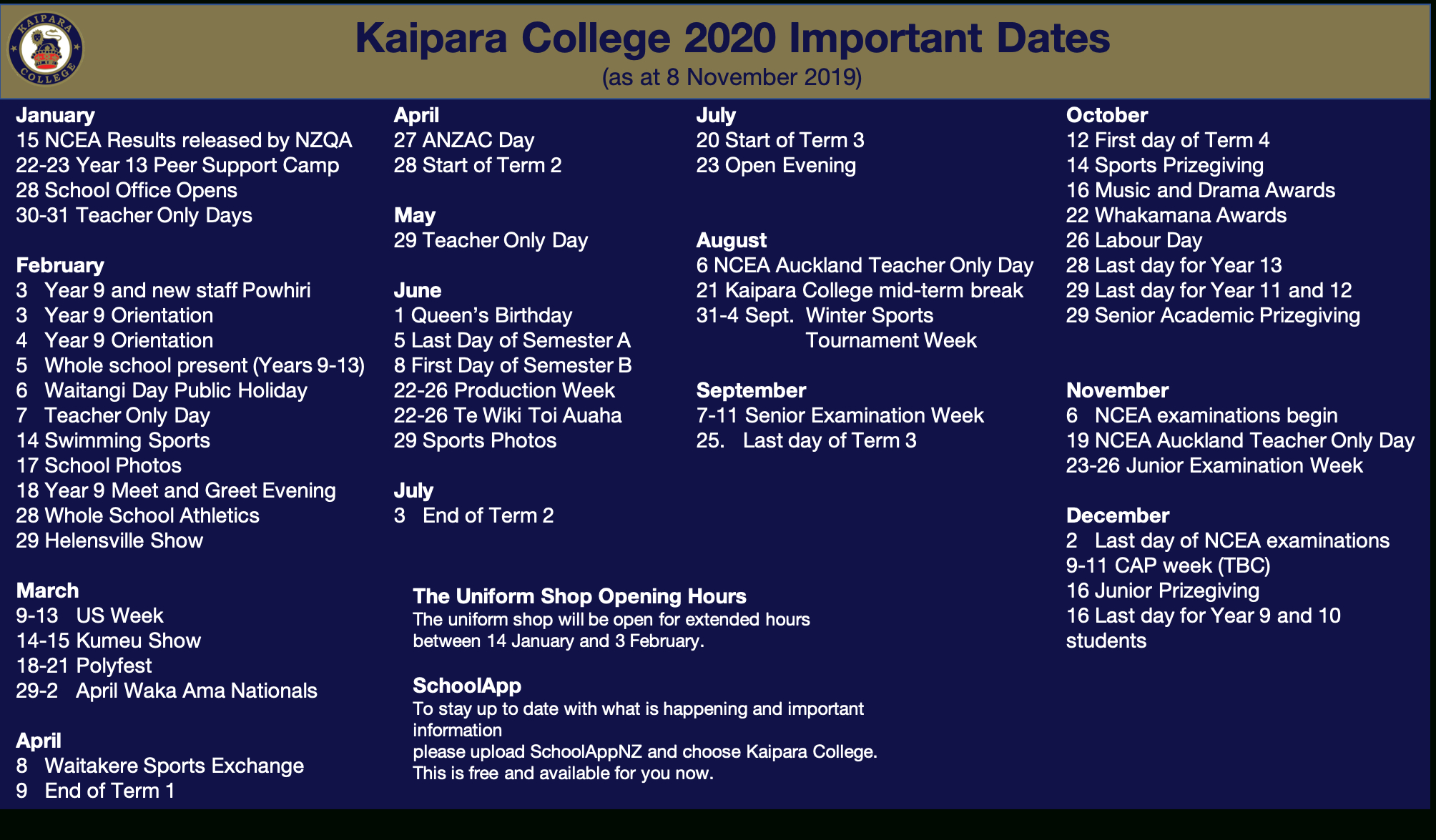 2020 Kaipara College Calendar • News & Events • Kaipara College