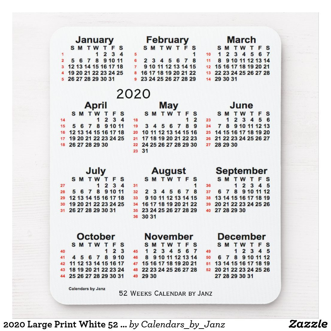 2020 Large Print White 52 Week Calendarjanz Mouse Pad