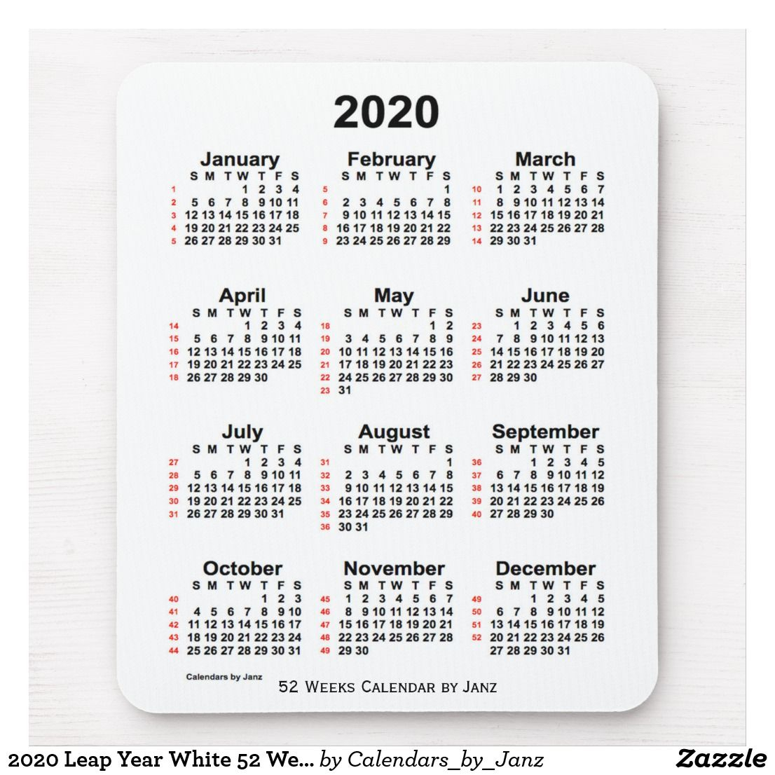 2020 Leap Year White 52 Week Calendarjanz Mouse Pad