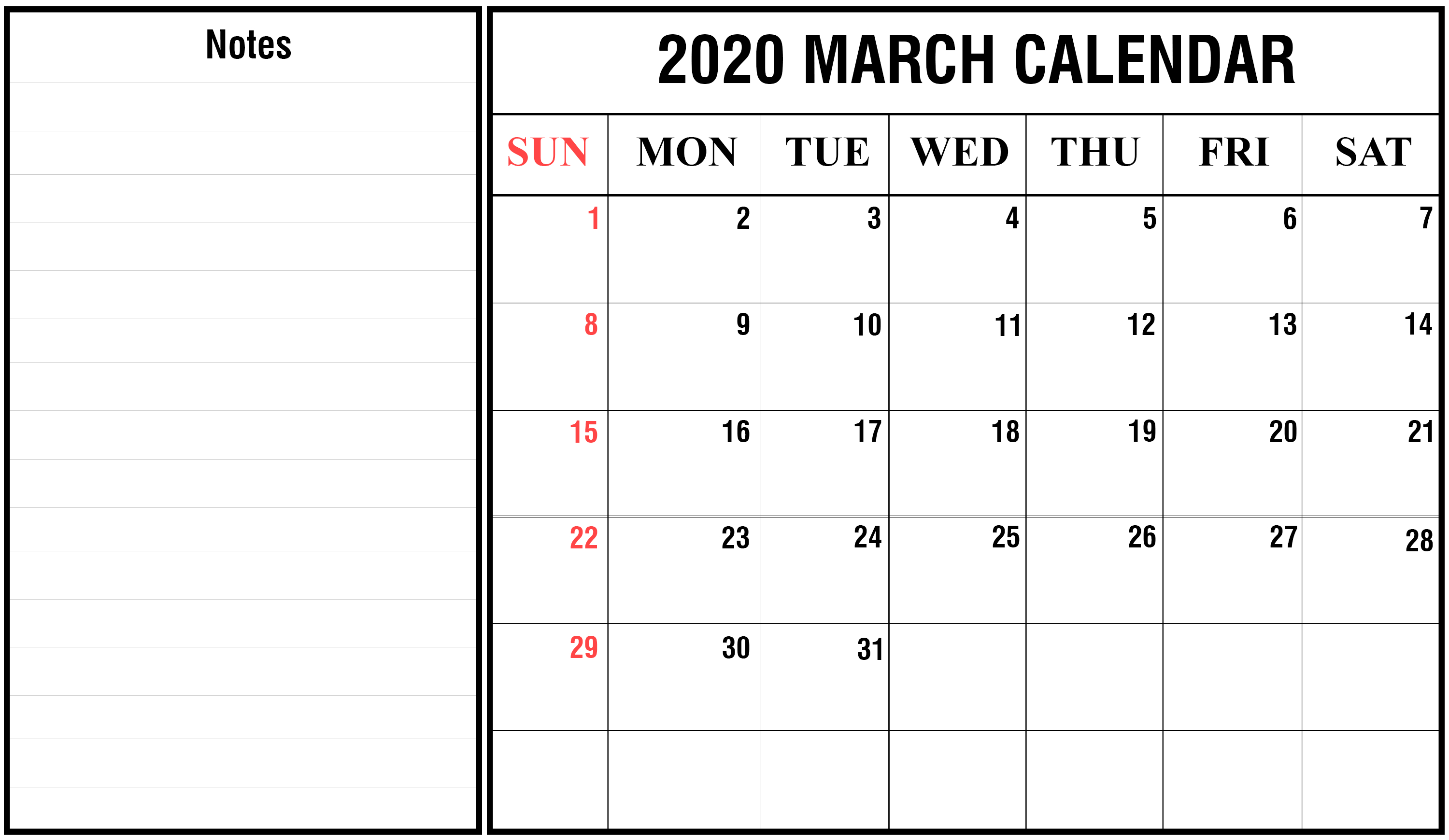 2020 March Calendar Printable Editable Template Blank 2