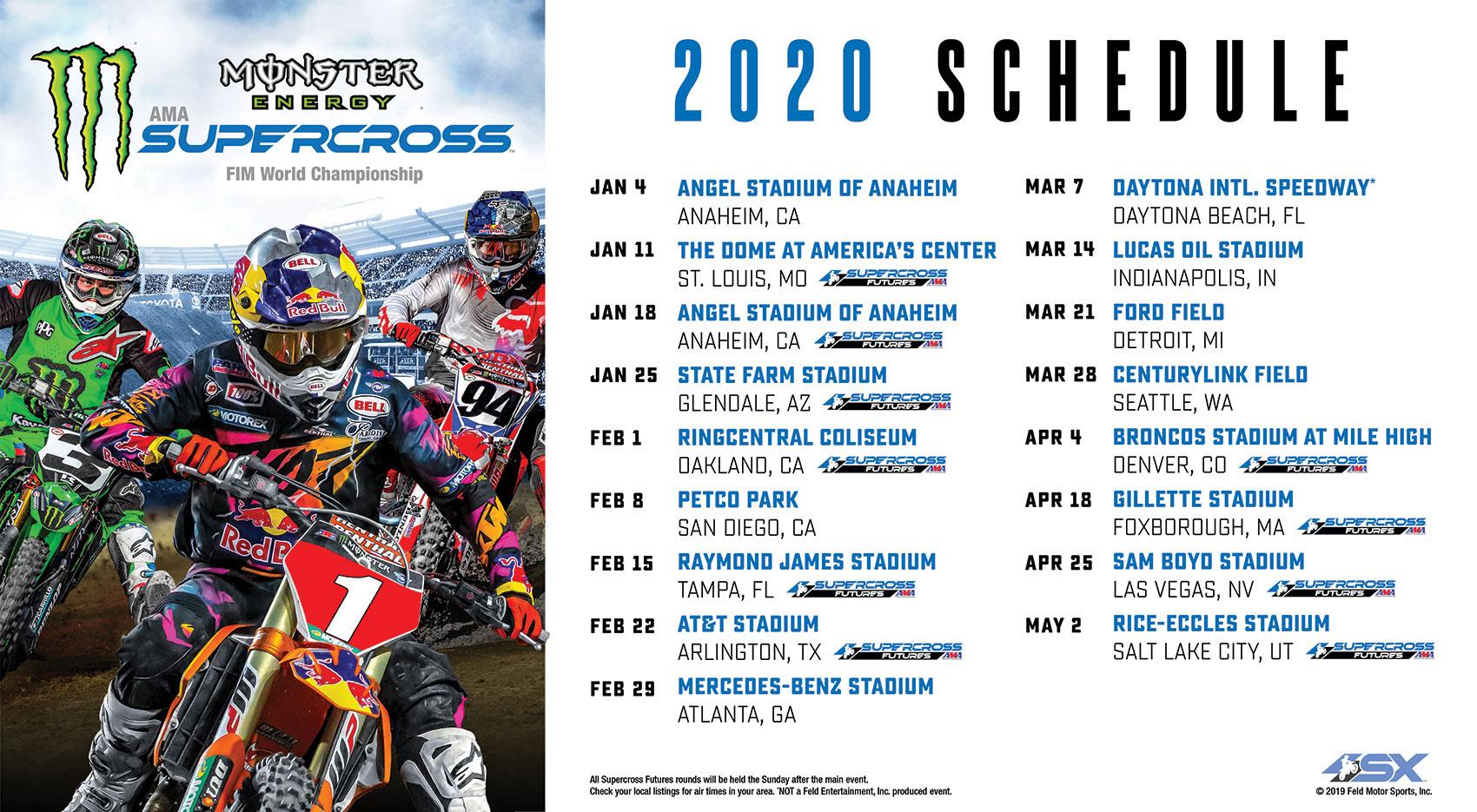 2020 Monster Energy Supercross Series Schedule - Swapmoto Live