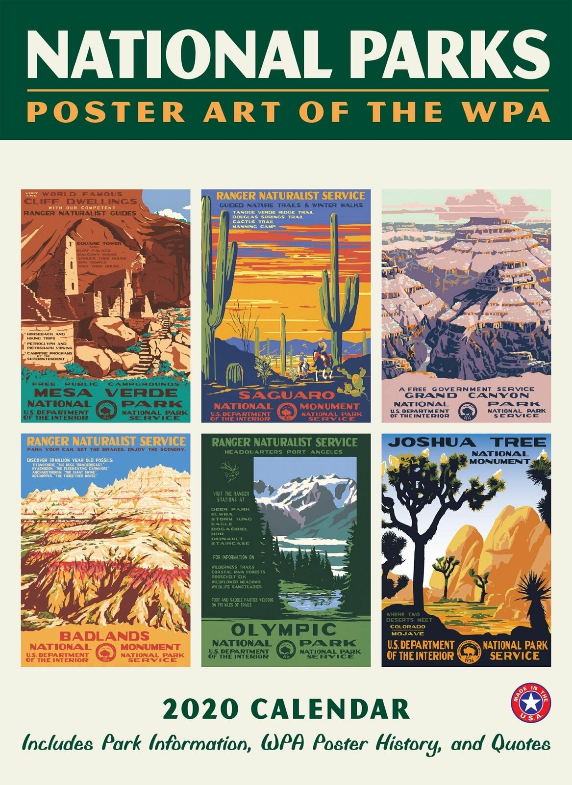 2020 National Parks Poster Art Of The Wpa 8.75 X 12 In. Wall Calendar