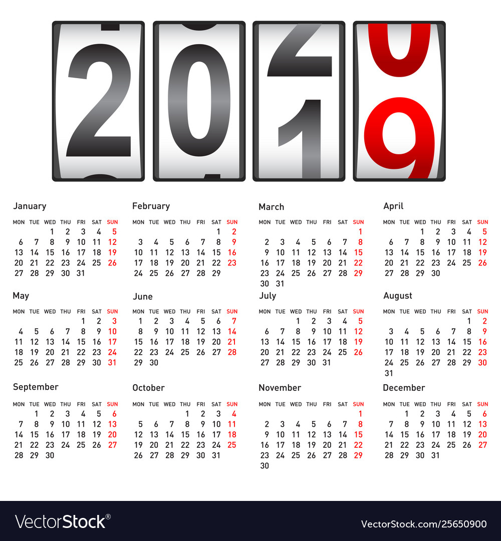 2020 New Year Counter Change Calendar