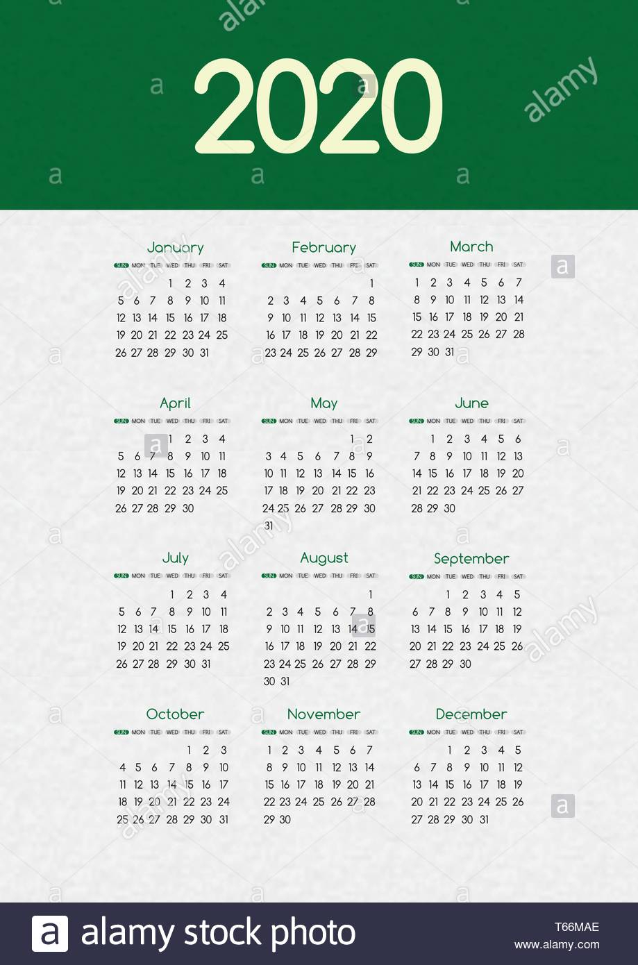 2020 New Year Vector Calendar Modern Simple Green Design