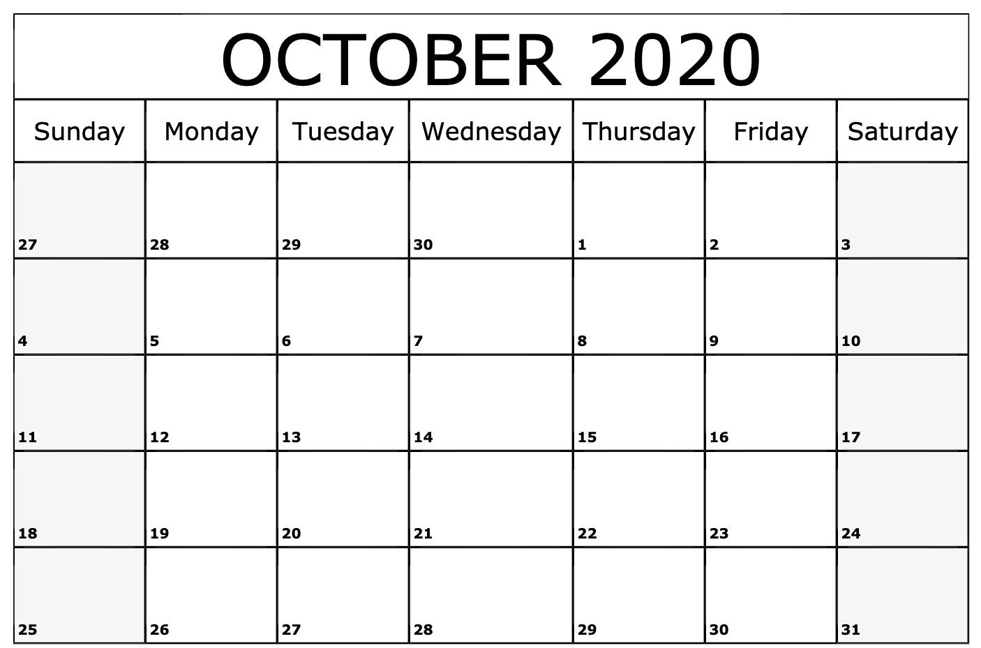 2020 October Calendar | 2020 Calendar Template, Monthly