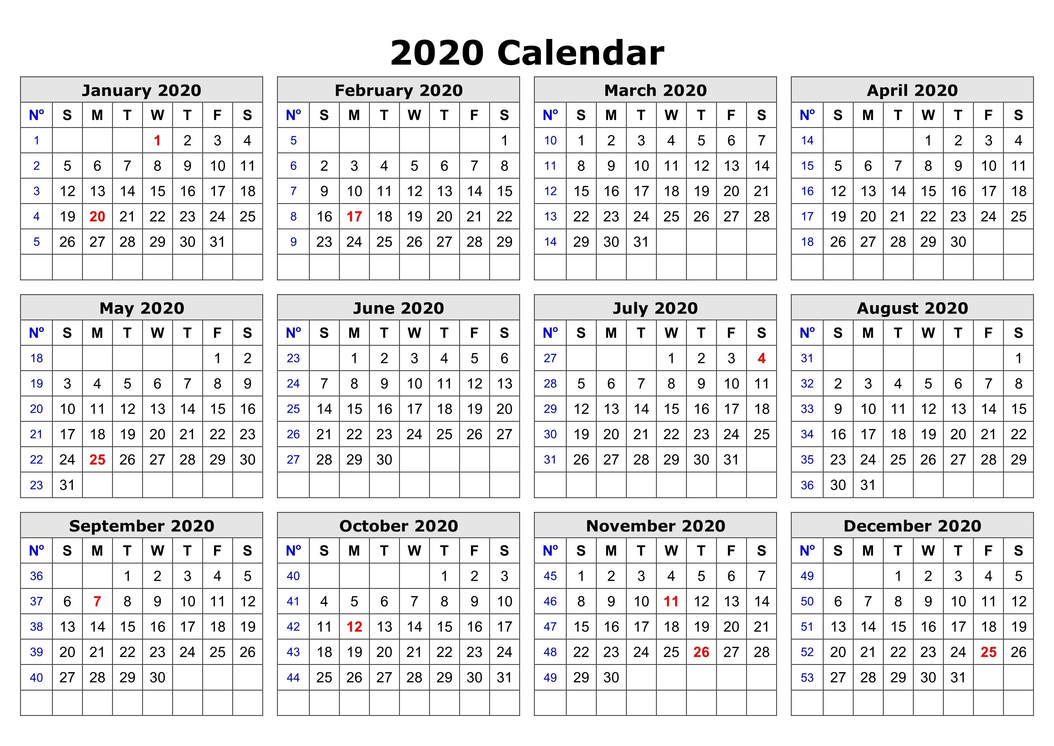 2020 One Page Calendar Printable | Free Printable Calendar