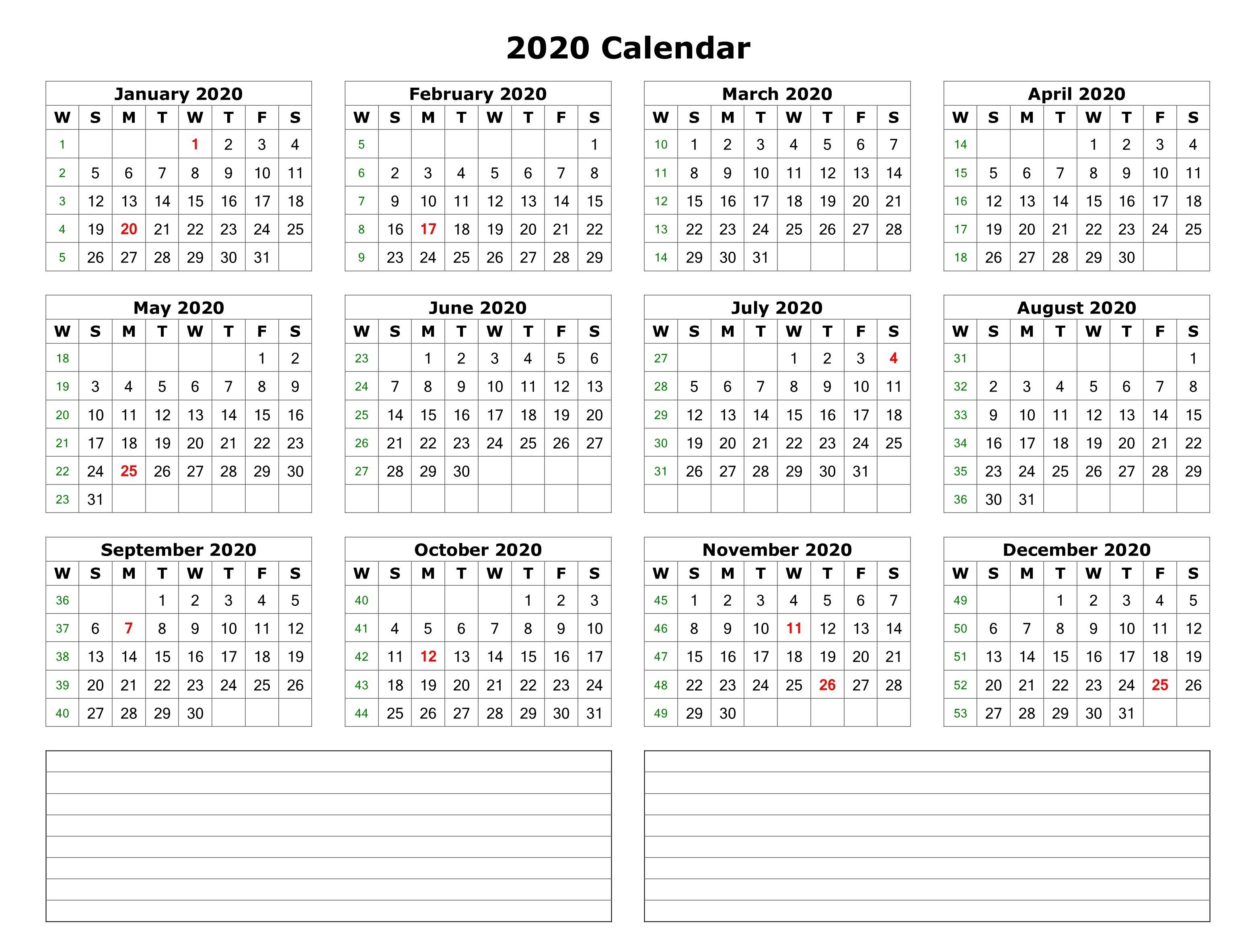 2020 One Page Calendar With Notes   Printable Yearly
