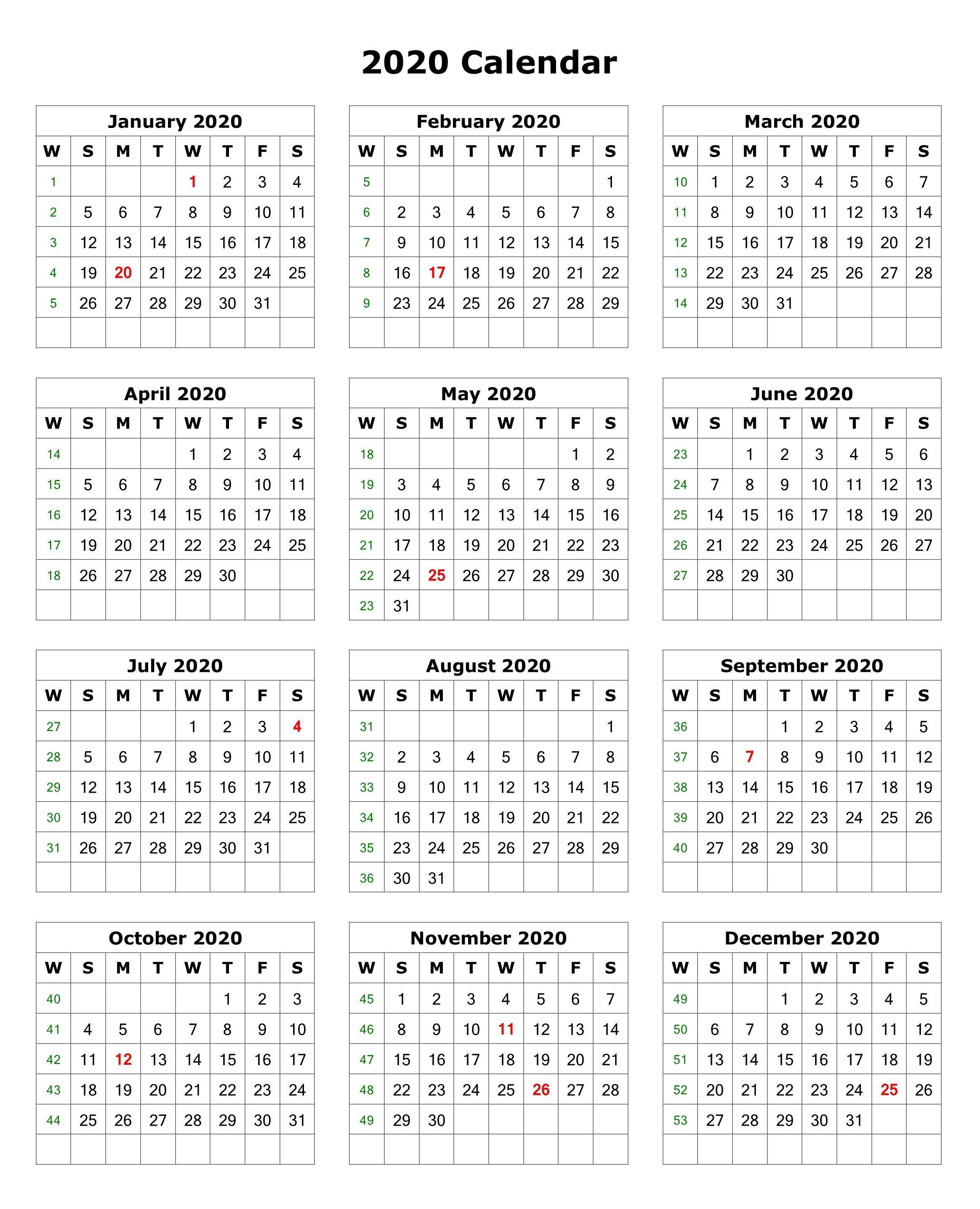 2020 One Page Portrait Calendar | Printable Calendar 2020