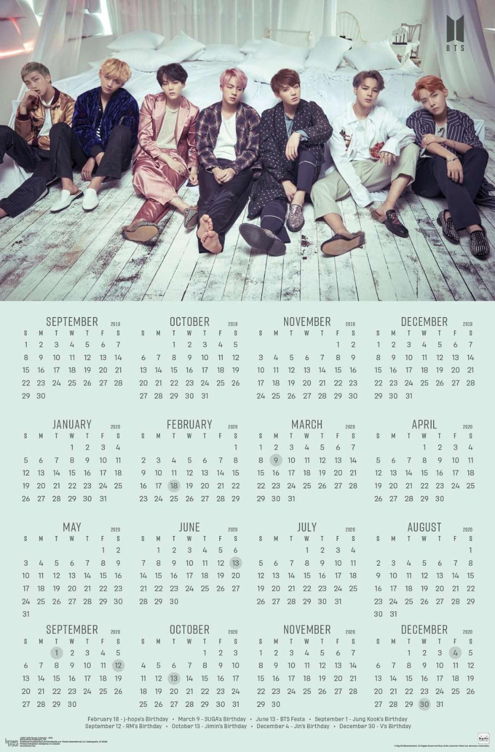 2020 Poster Calendar - Bts In 2019 | Bts Calendar, Bts, Calendar