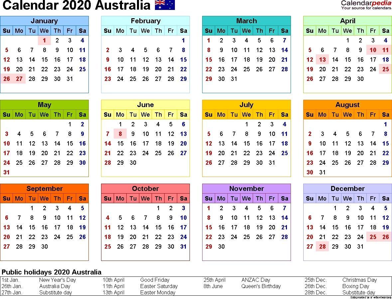 Year 2020 Calendar Australia