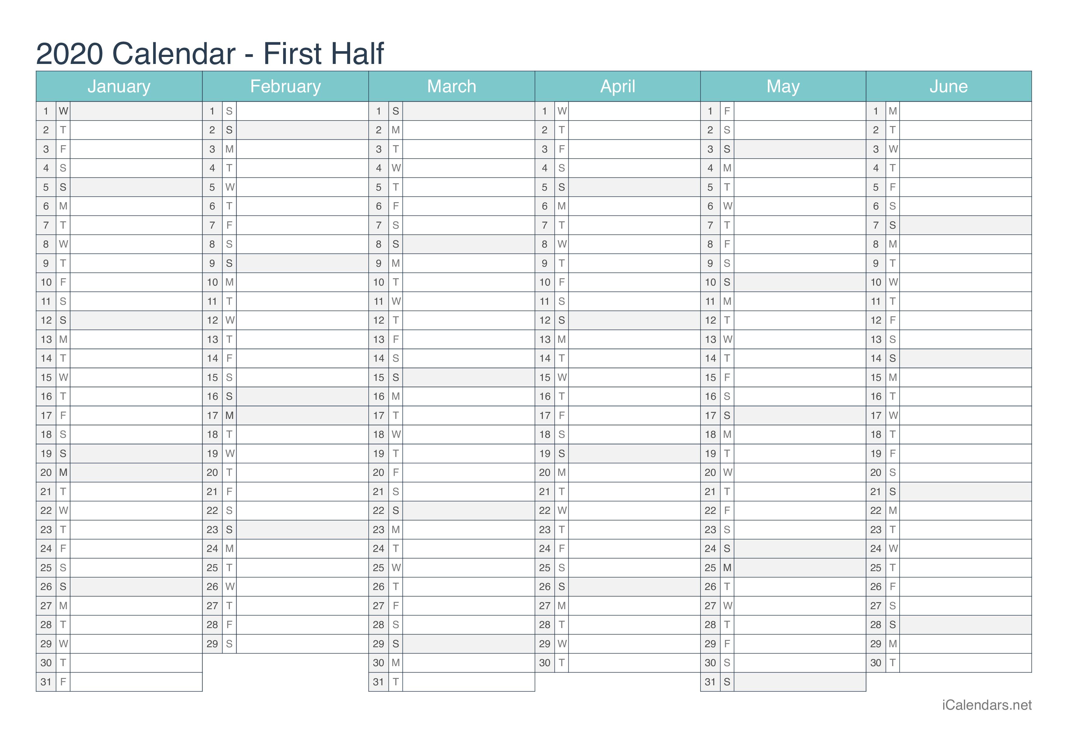 2020 Printable Calendar - Pdf Or Excel - Icalendars