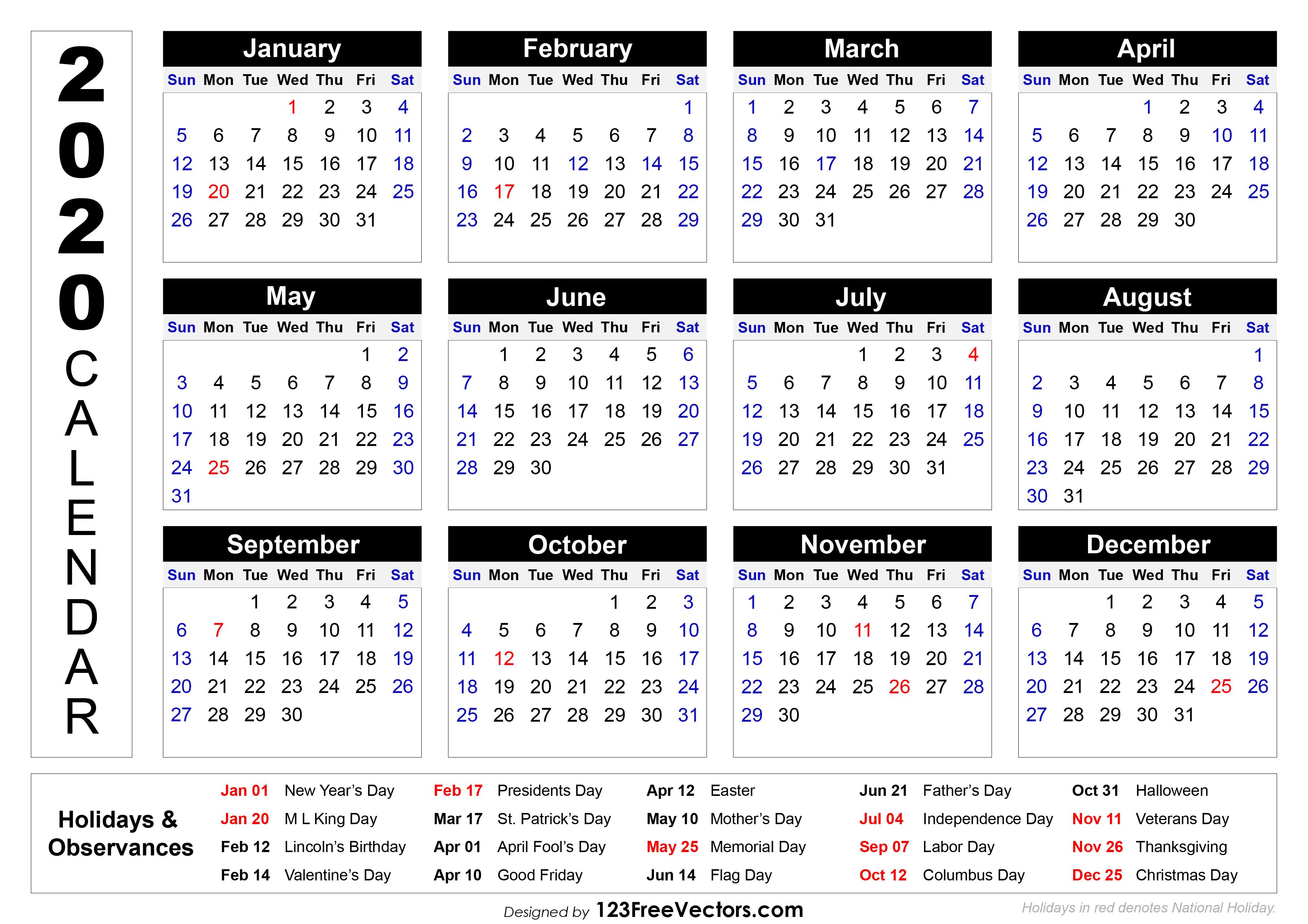 2020 Printable Calendar With Holidays