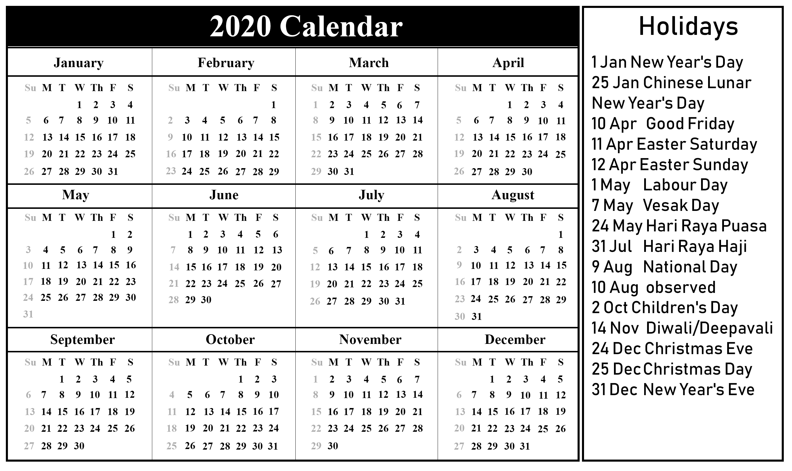 2020 Printable Calendars With Holidays - Wpa.wpart.co