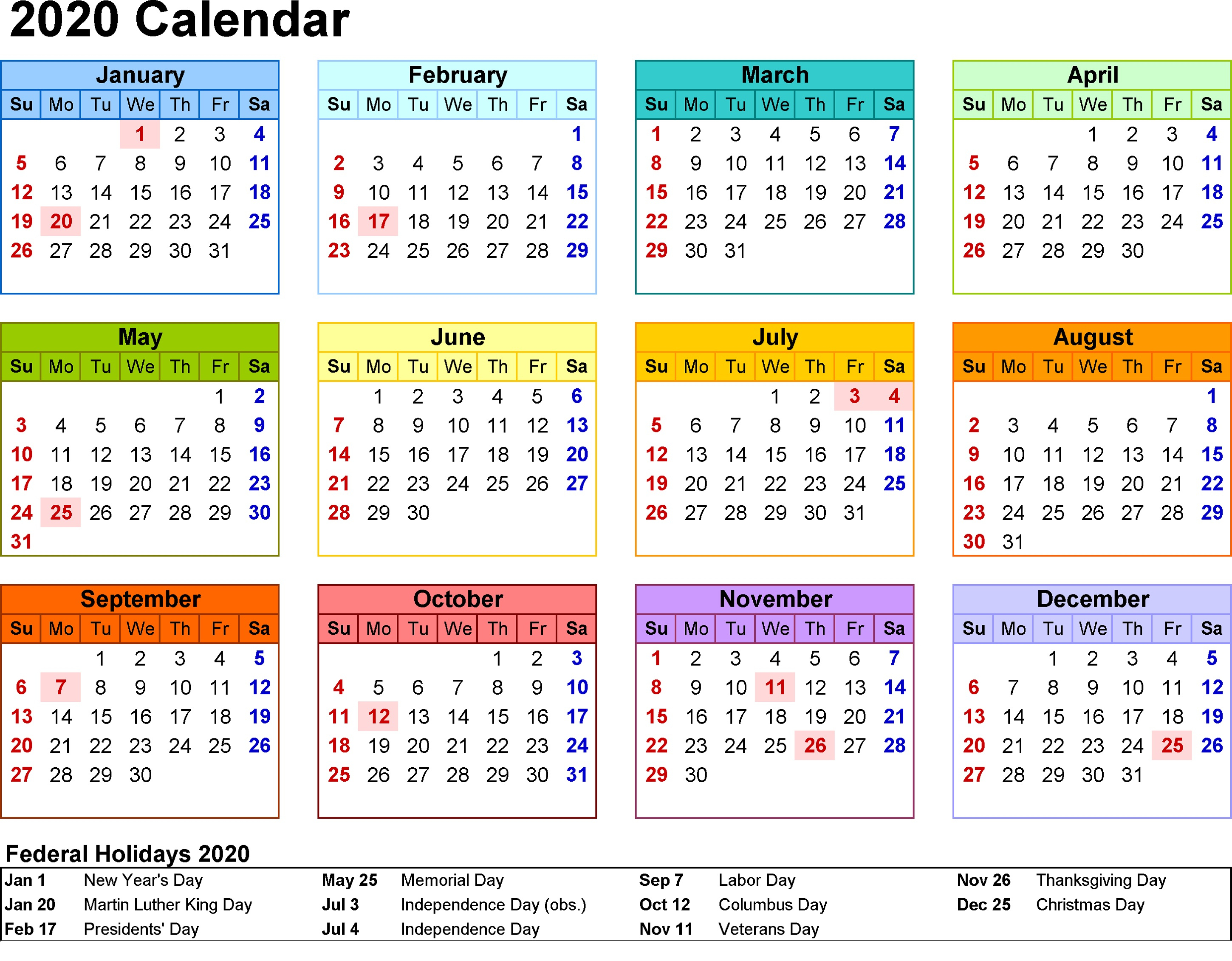 2020 Printable Yearly Calendar With Holidays - Wpa.wpart.co