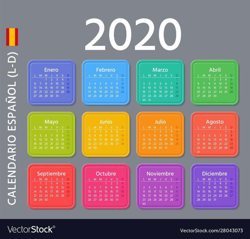 2020 Spanish Calendar Template Year Planner