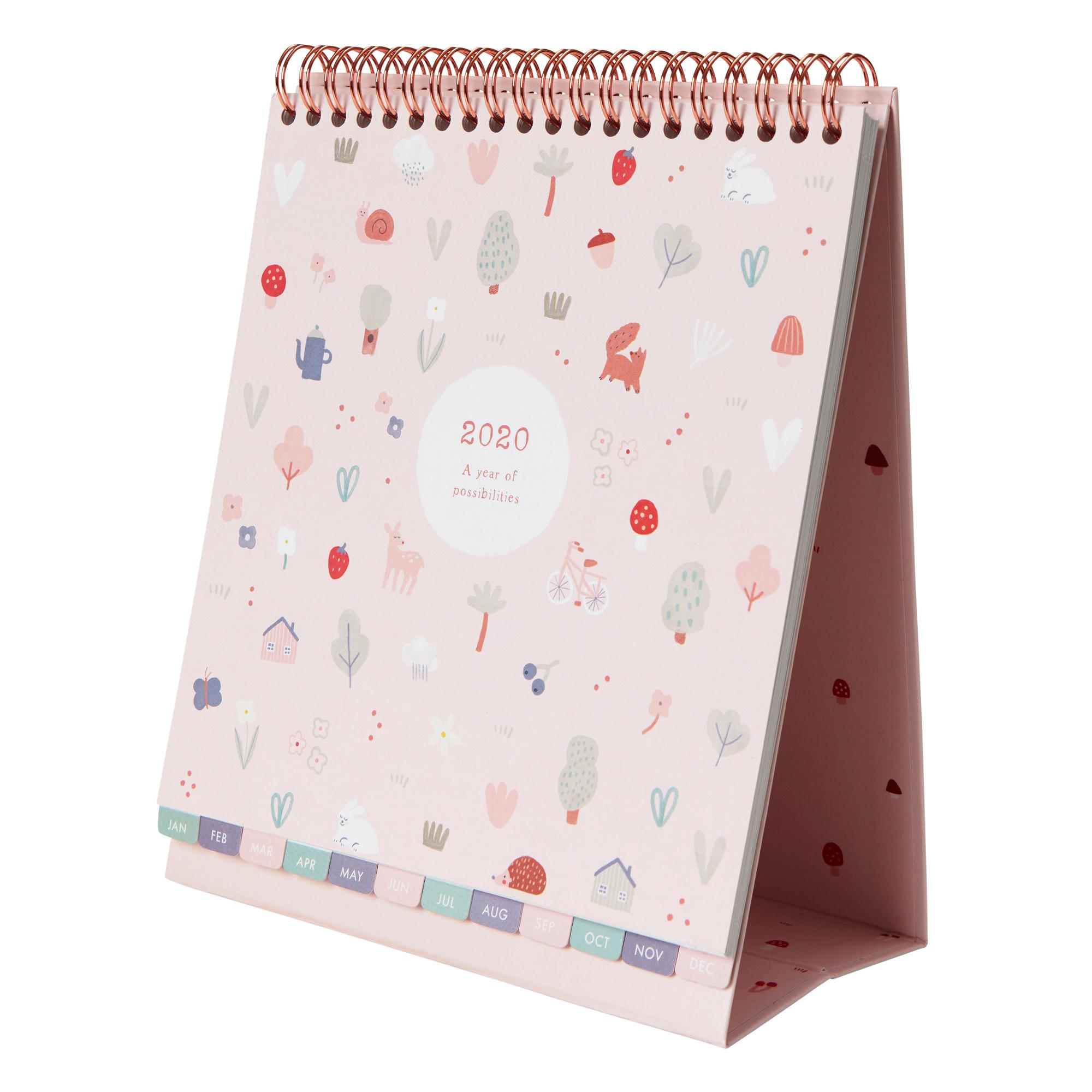 2020 Sweet Desk Calendar Pale Pink: Woodland | Calendars