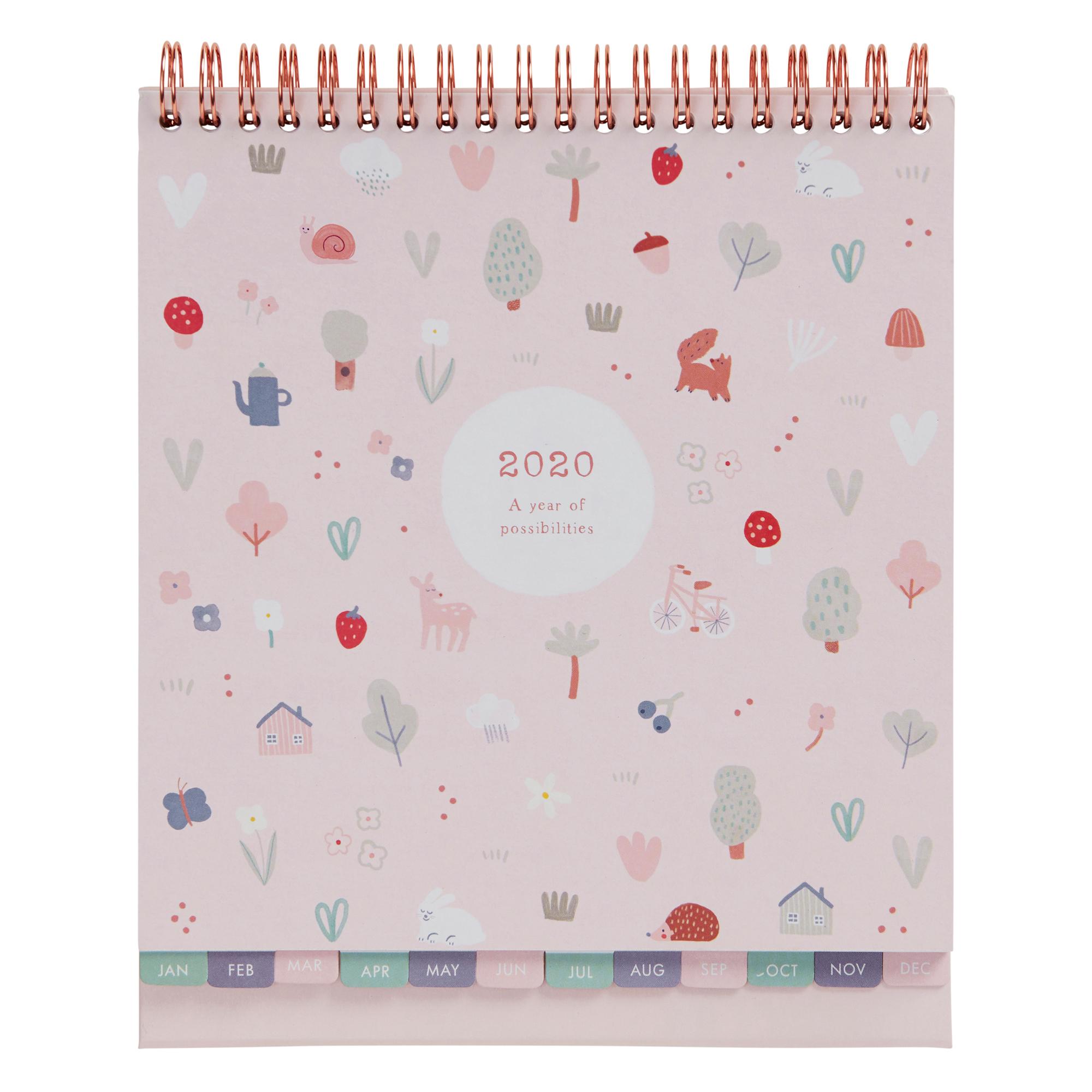 2020 Sweet Desk Calendar Pale Pink: Woodland