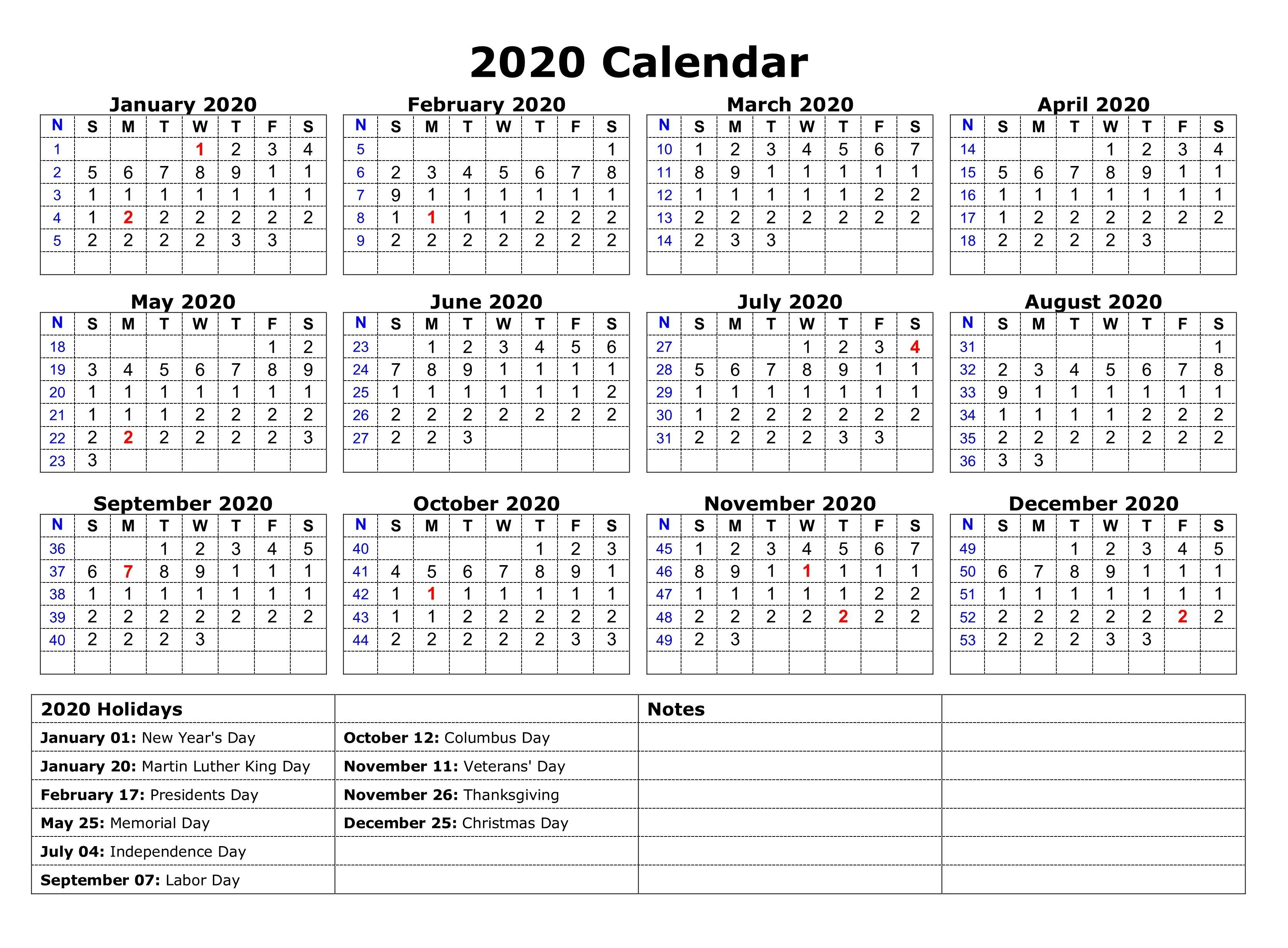 2020 Us Calendar With Holidays Printable - Wpa.wpart.co