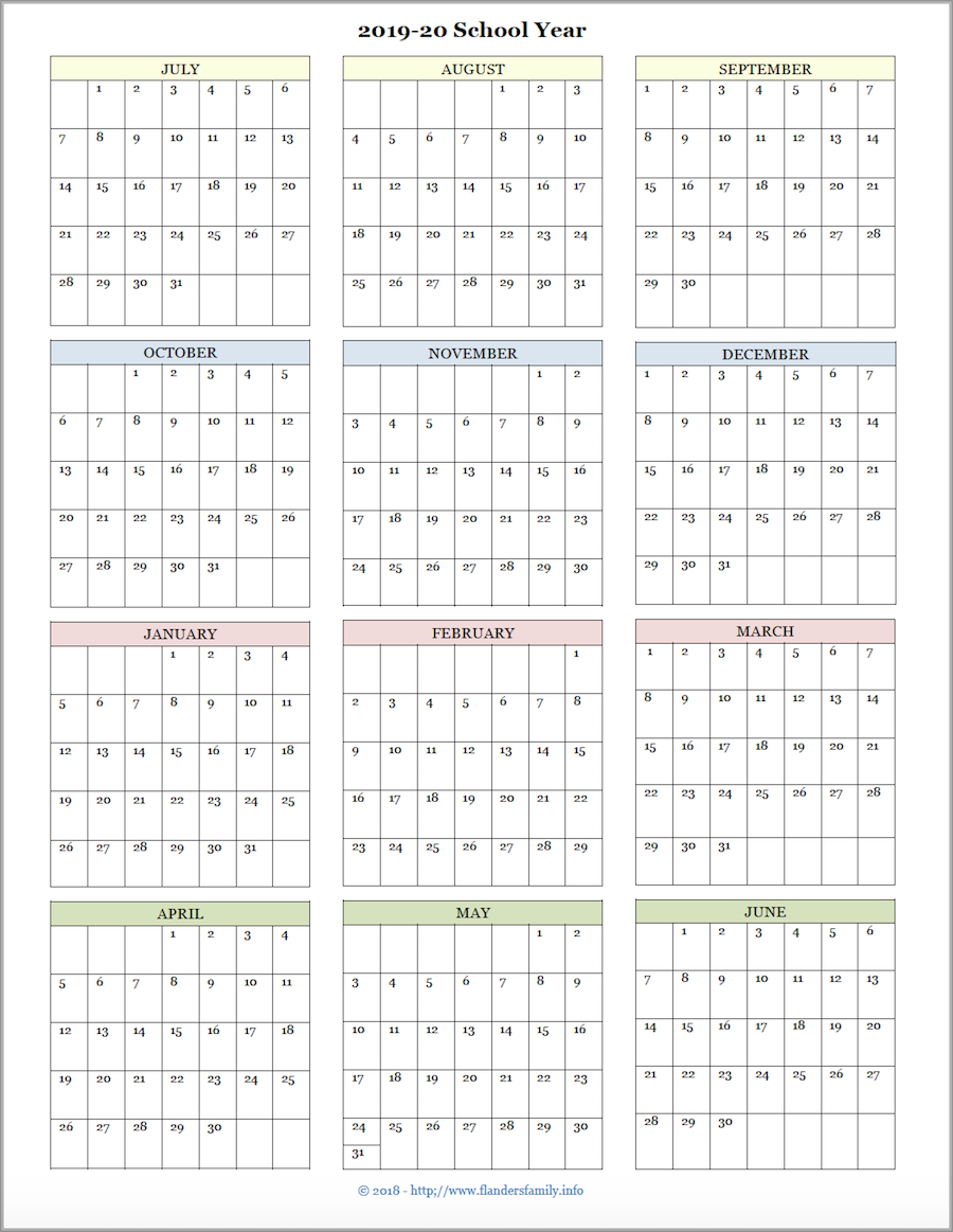 2020 Year At A Glance Printable Calendar - Wpa.wpart.co