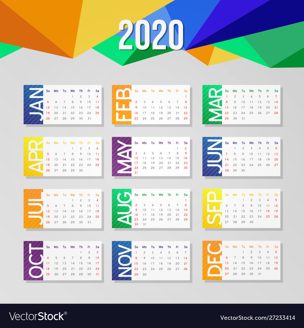 2020 Year Calendar Business School