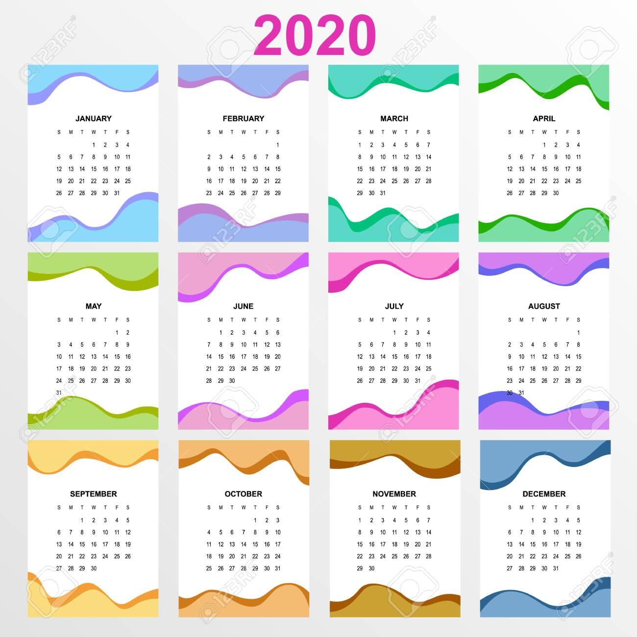 2020 Year Calendar. Holiday Event Planner. Week Starts Sunday