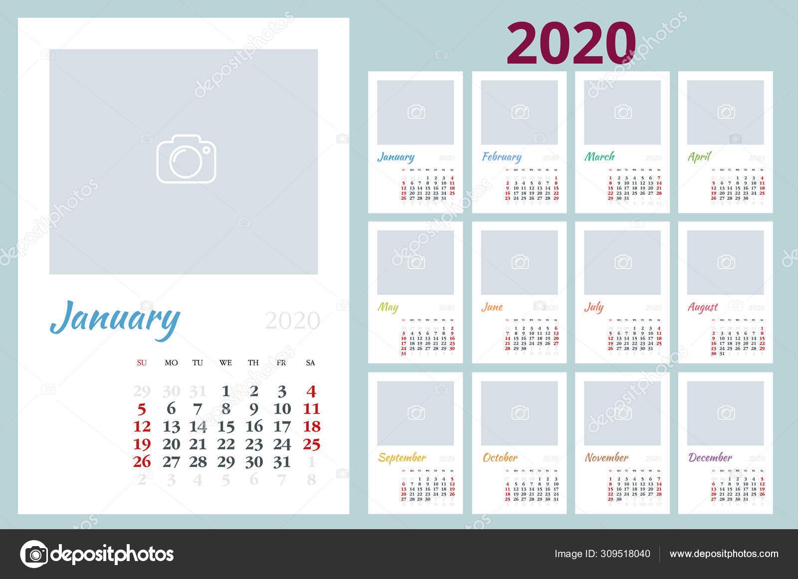 2020 Year Calendar. Holiday Event Planner. Week Starts