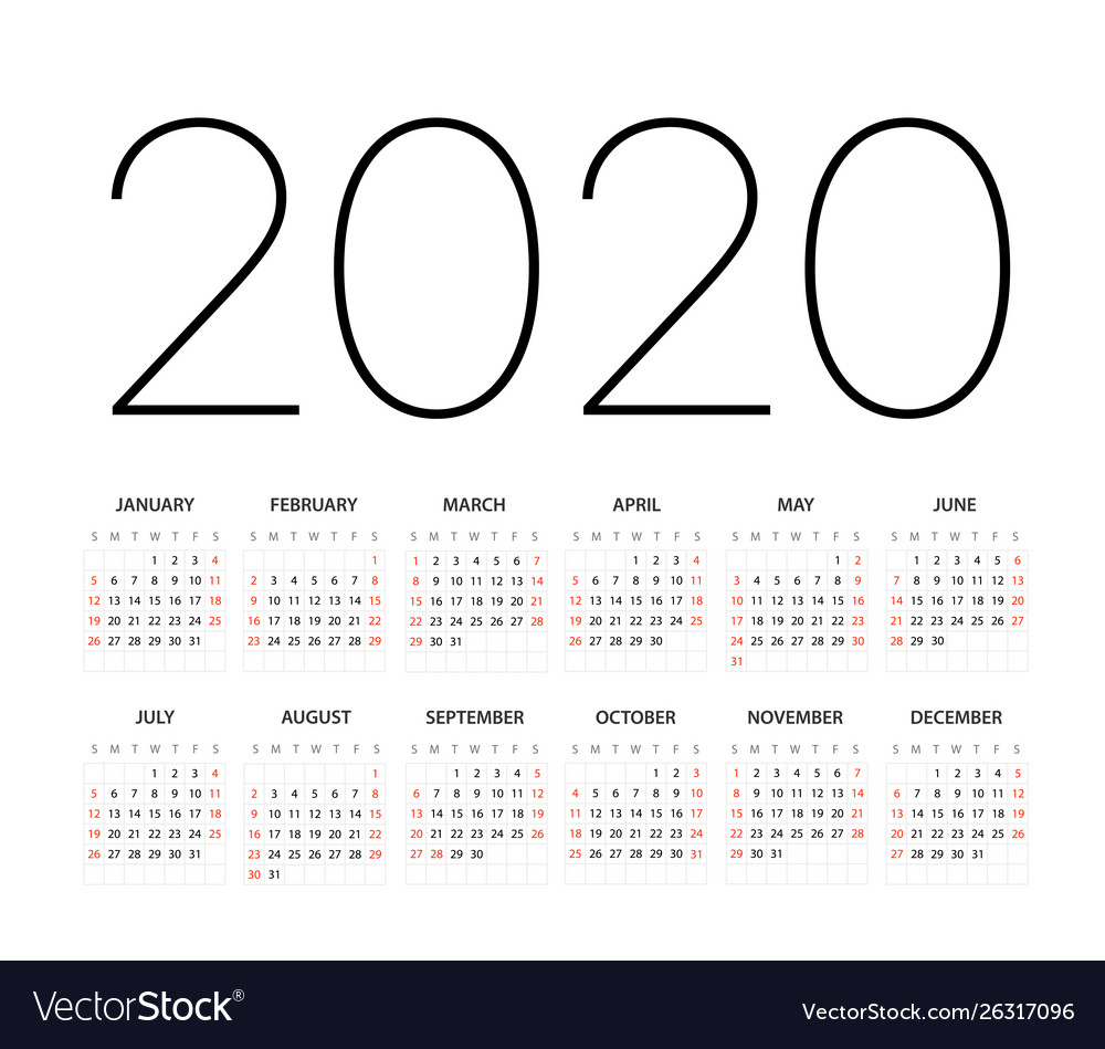 2020 Year Calendar Template Editable Layout