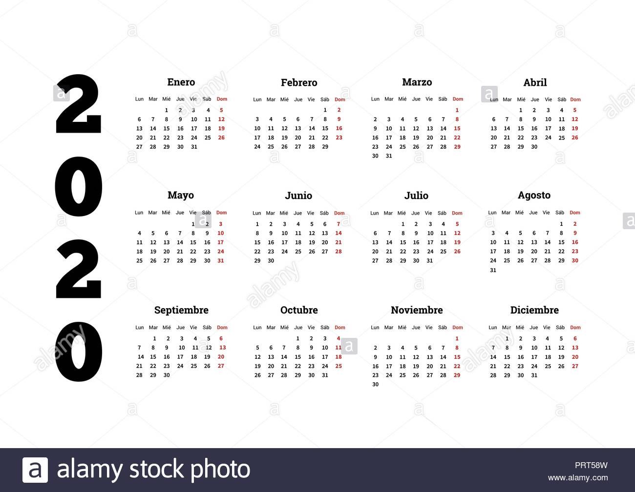 2020 Year Simple Calendar In Spanish, Isolated On White