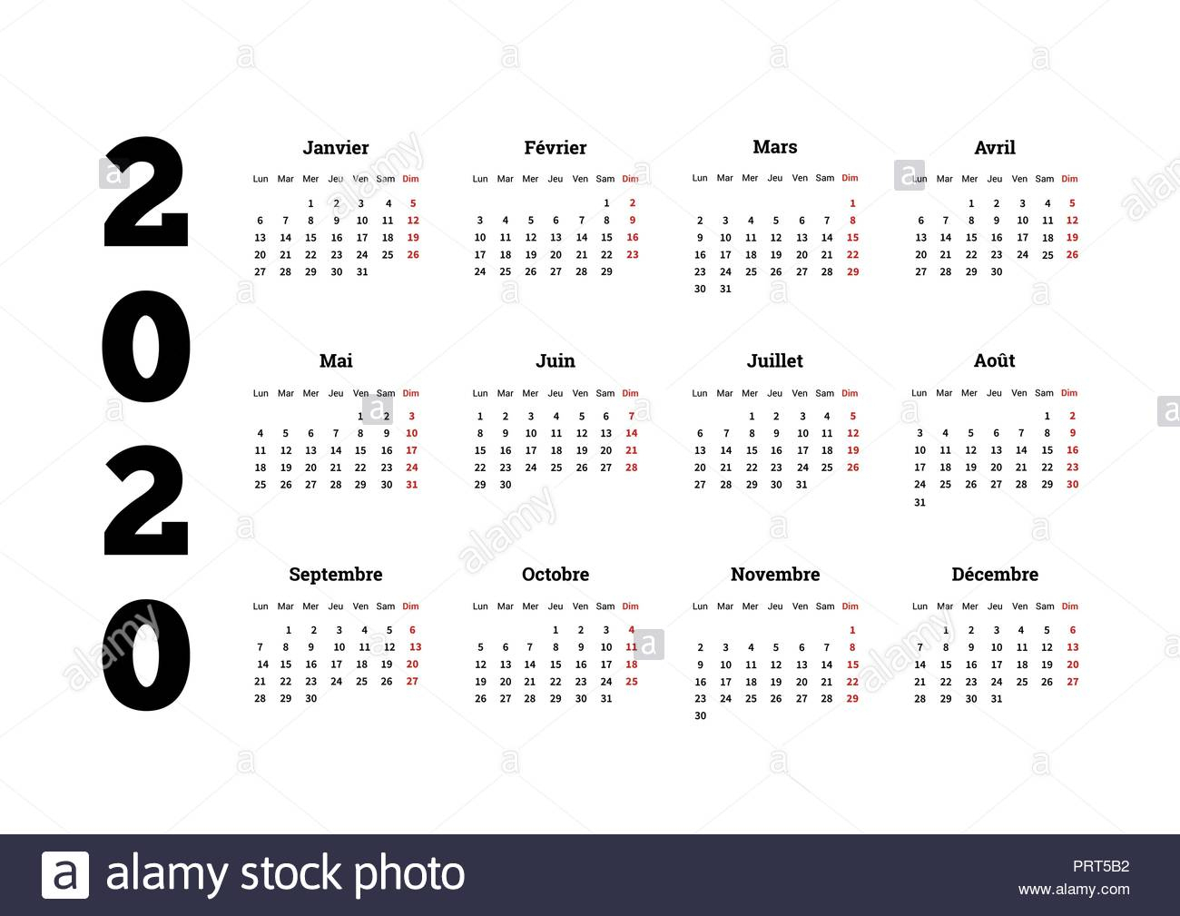 2020 Year Simple Calendar On French Language, Isolated On