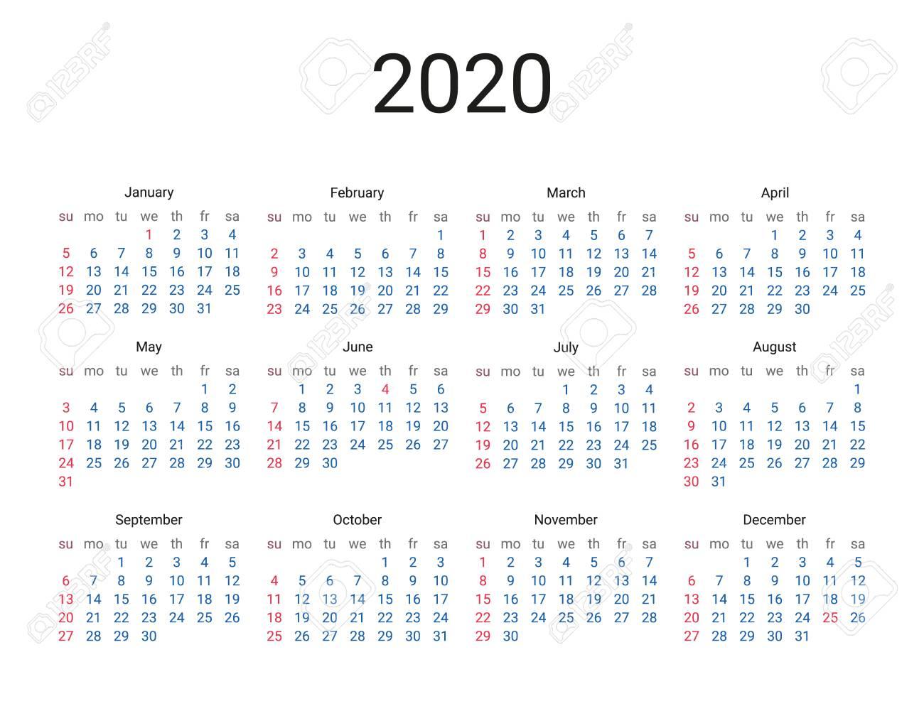 2020 Year Us Calendar. Classical, Minimalistic, Simple Design