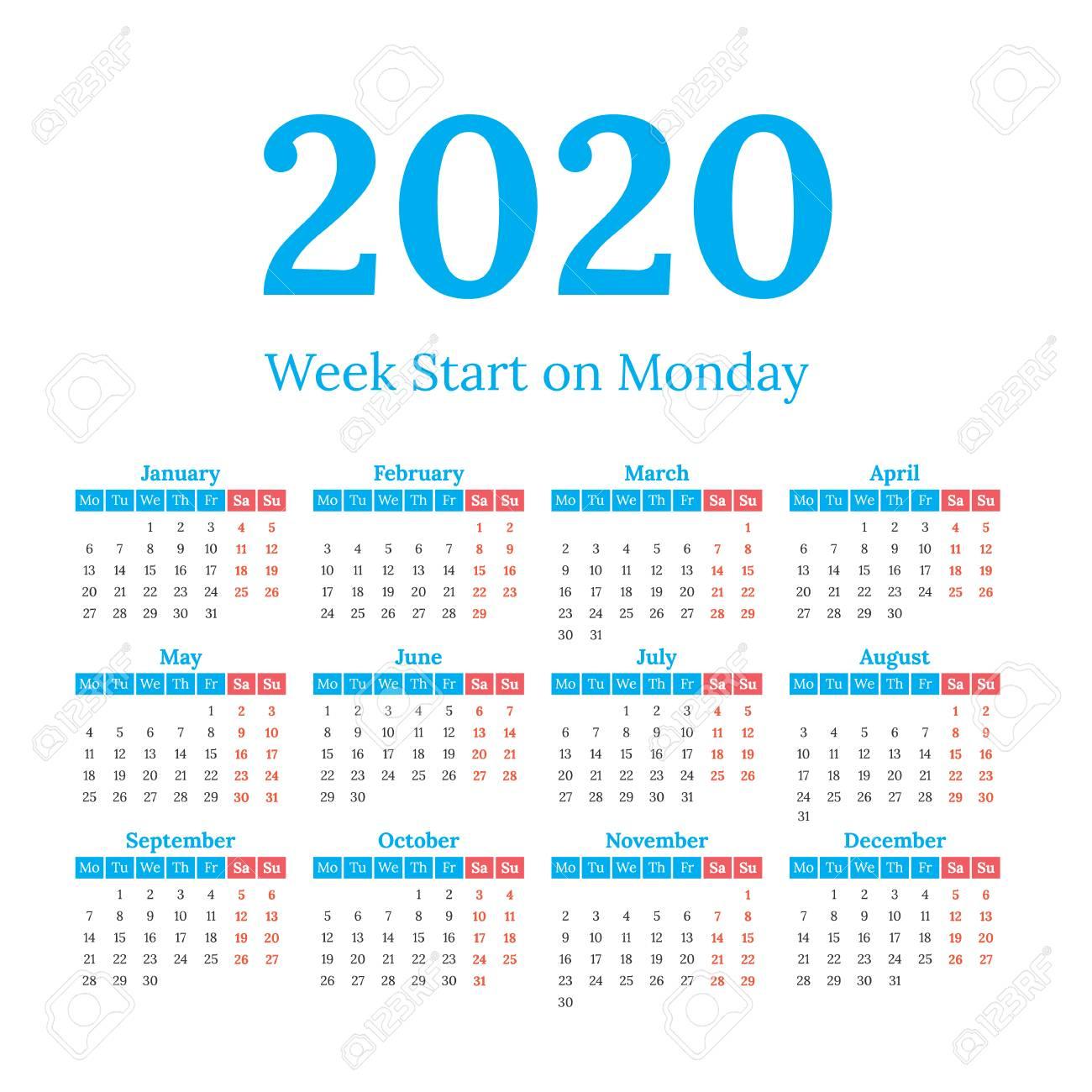 2020 Year Vector Calendar. Weeks Start On Monday
