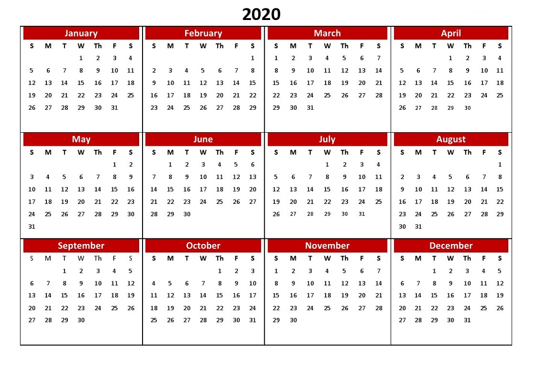 2020 Yearly Calendar Printable Full Usage | Calendar Shelter