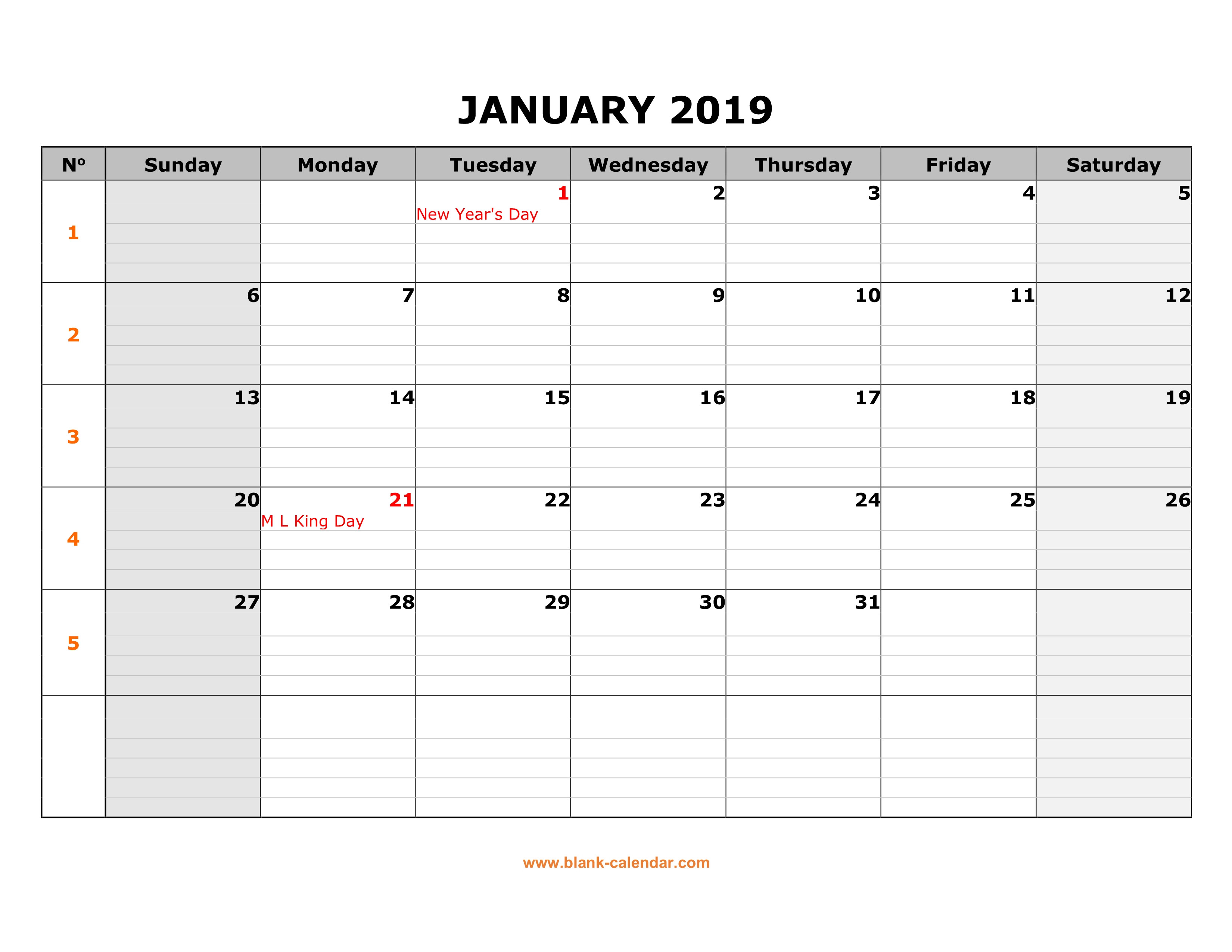 22 Large Grid Calendar 2019 | Andaluzseattle Template Example