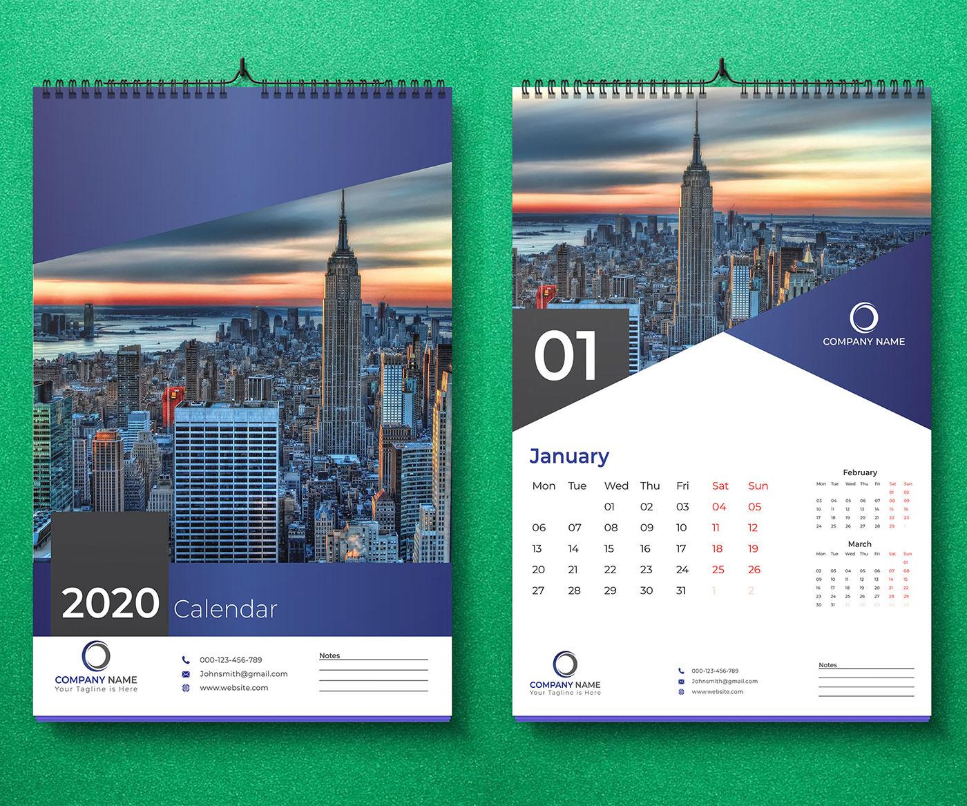 25 Best New Year 2020 Wall & Desk Calendar Designs For
