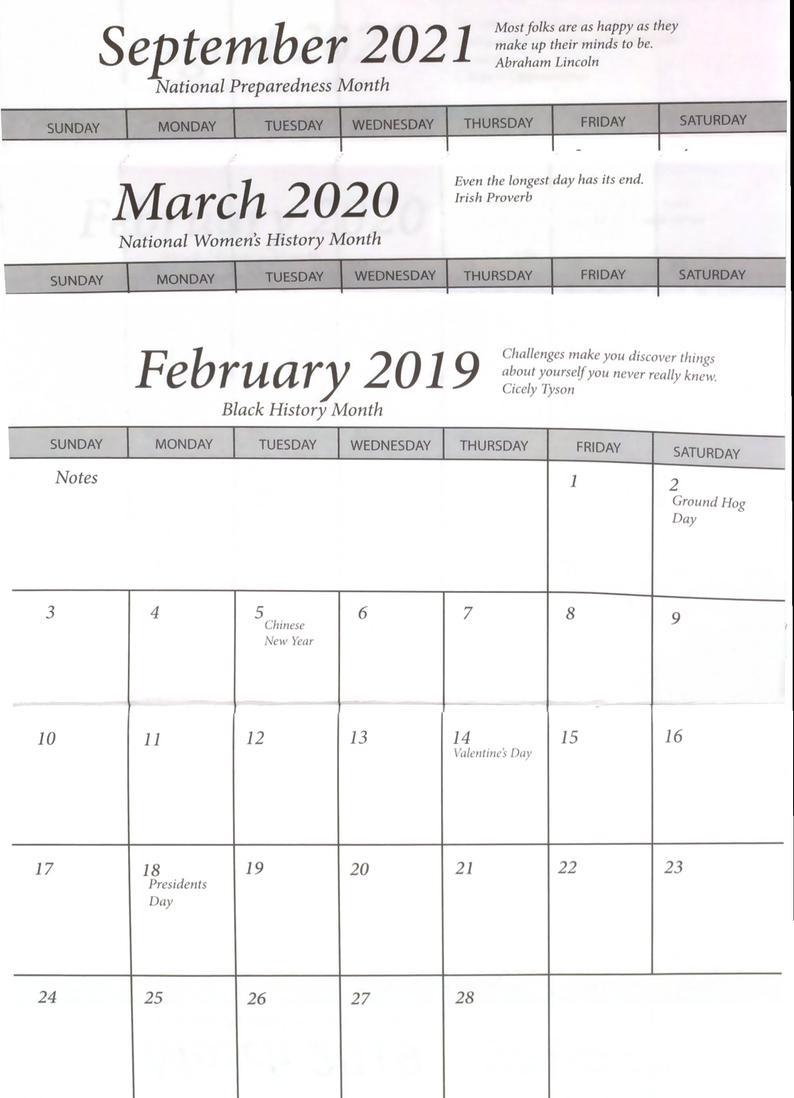 25 Pocket Calendar 2 Year 2019-2020 - Insert Only