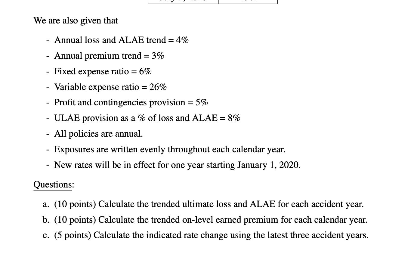 3. (25 Points) An Insurance Company Has The Follow