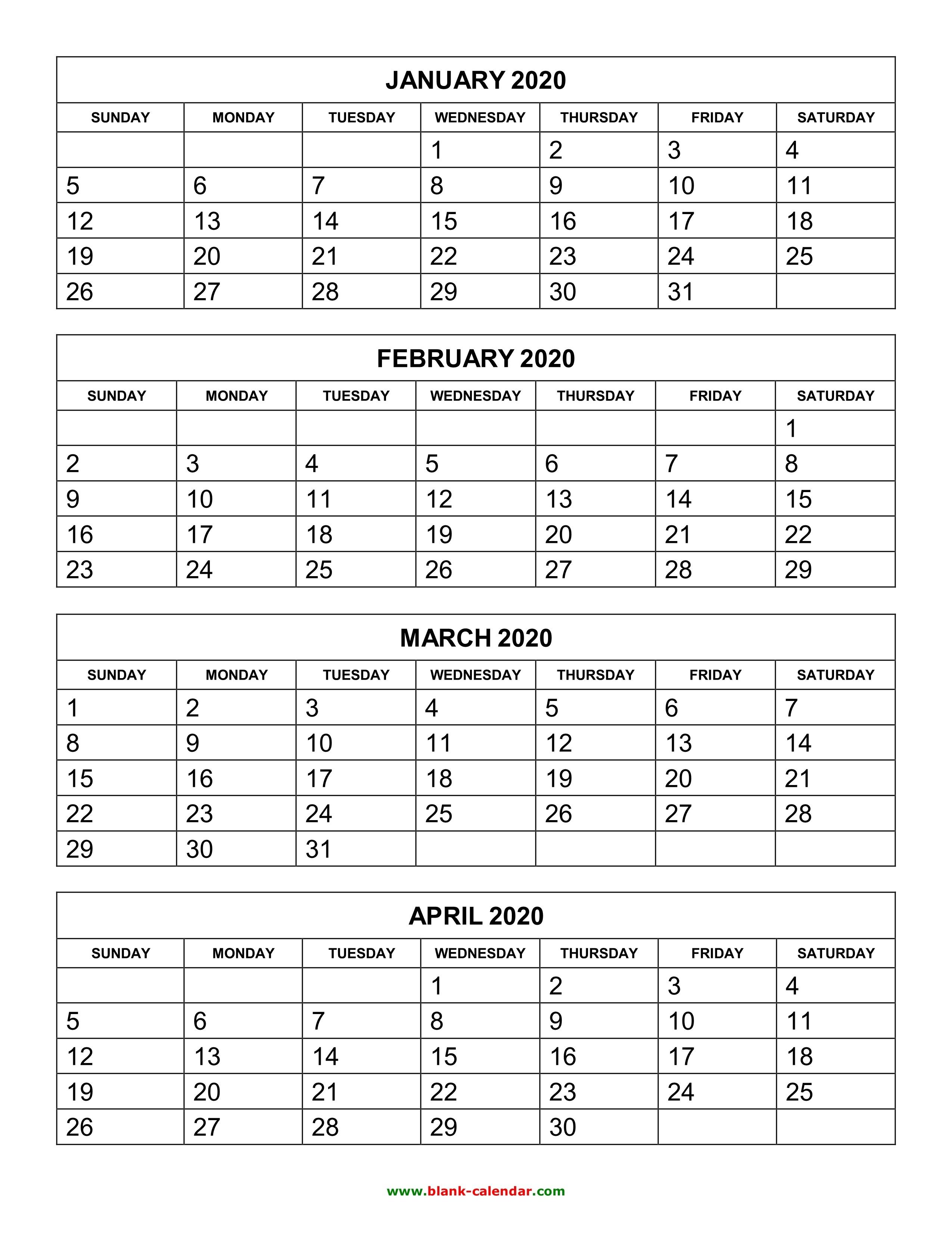 3 Month Blank Calendar 2020 | Calendar Template Information