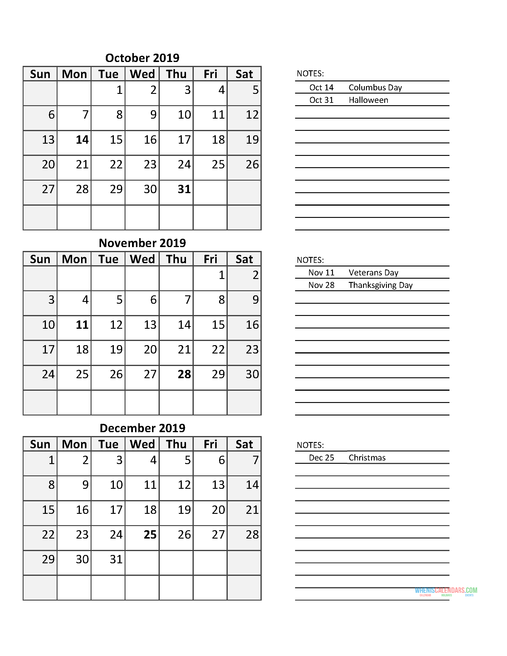 3 Month Calendar 2019 Quarterly Calendar Fourth Quarter 2019