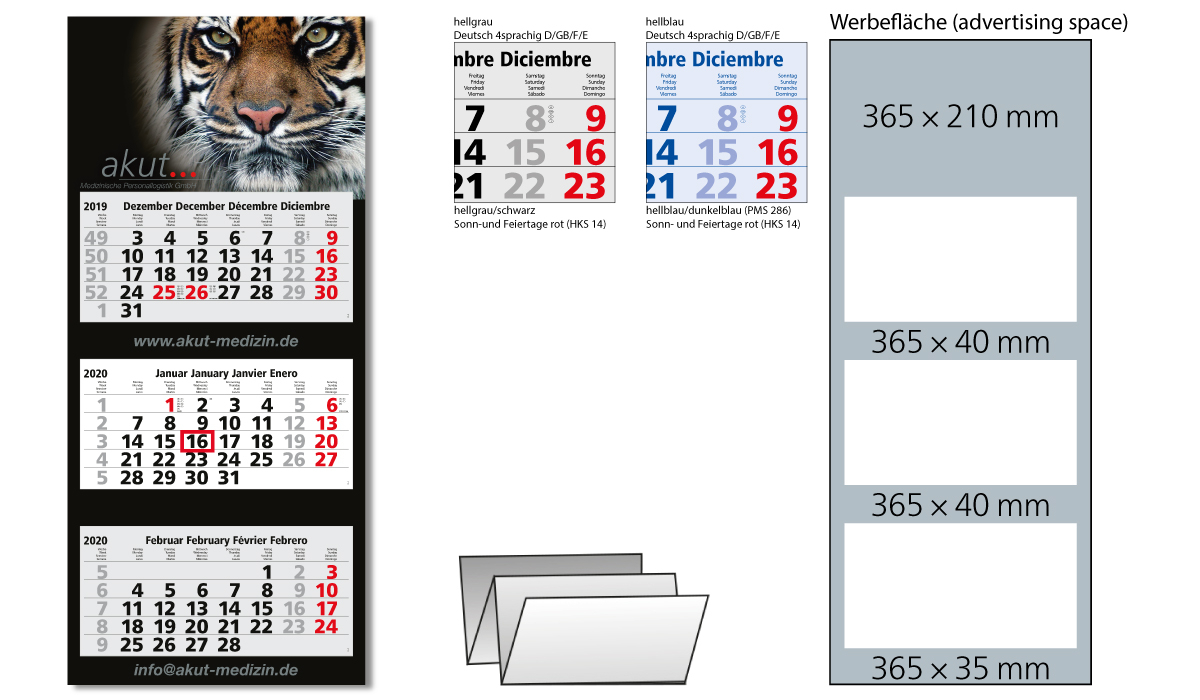 3-Month Calendar 2020 Maxi 3 Standard | 3-Month Planner With Logo Printed |  Deprismedia