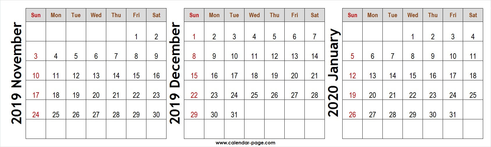 3 Month Calendar November December 2019 January 2020 To