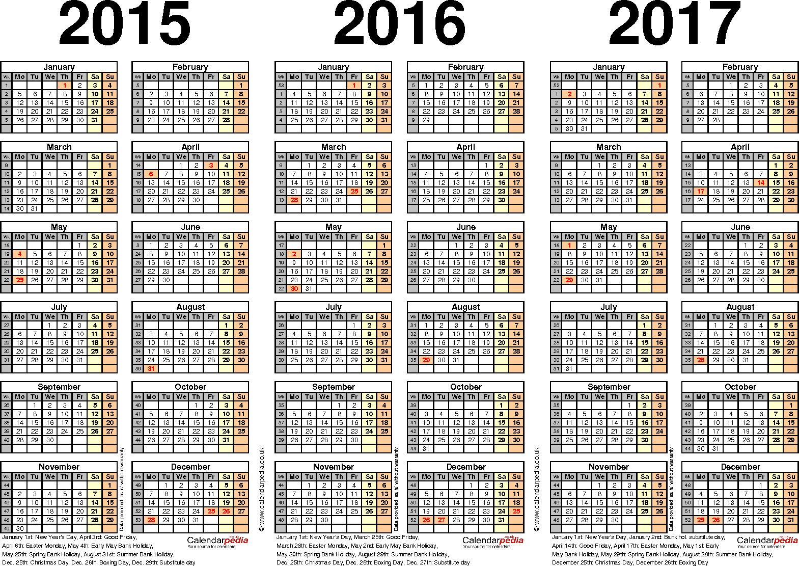 3 Year Calendar - Wpa.wpart.co