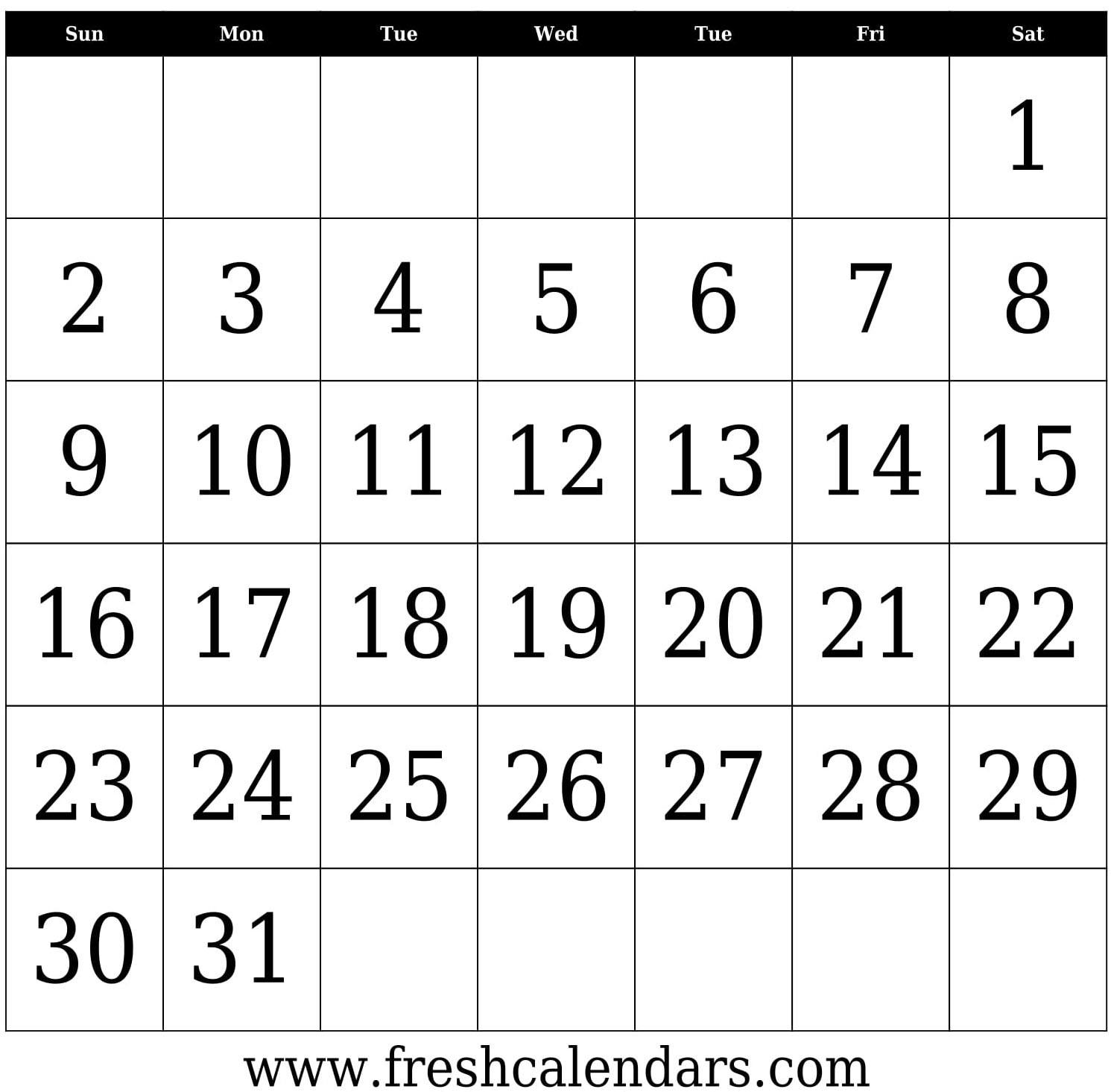 31 Day Calendar - Wpa.wpart.co