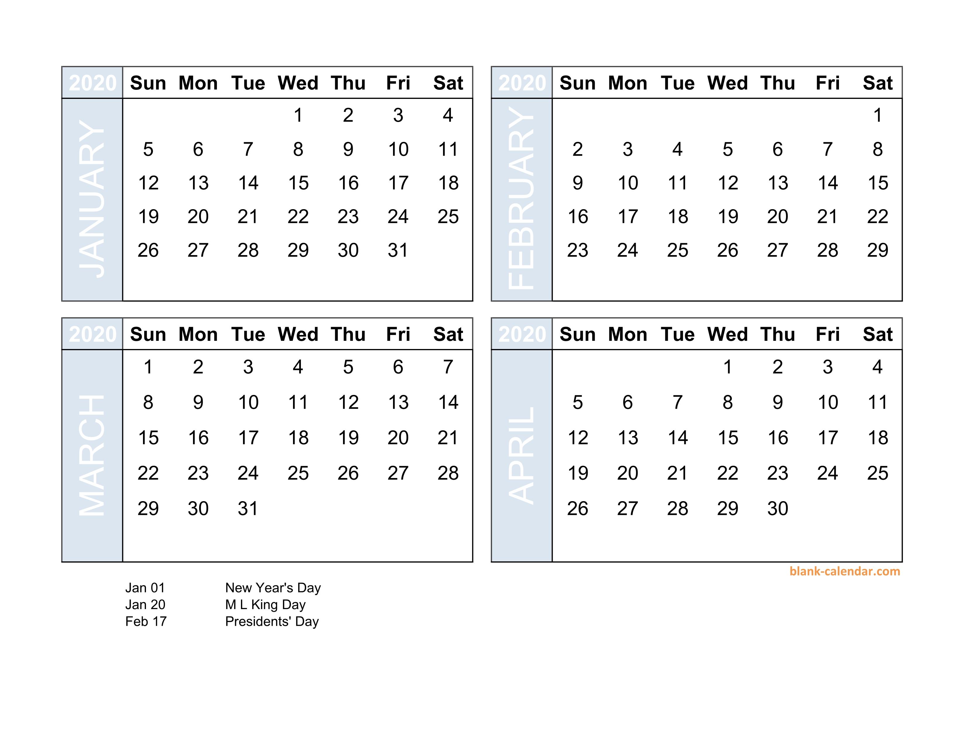 4 Months Calendar 2020 - Wpa.wpart.co