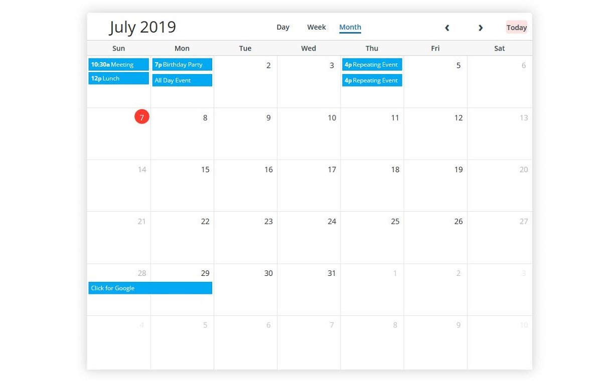 5 Best Free Bootstrap Calendars 2019 - Colorlib