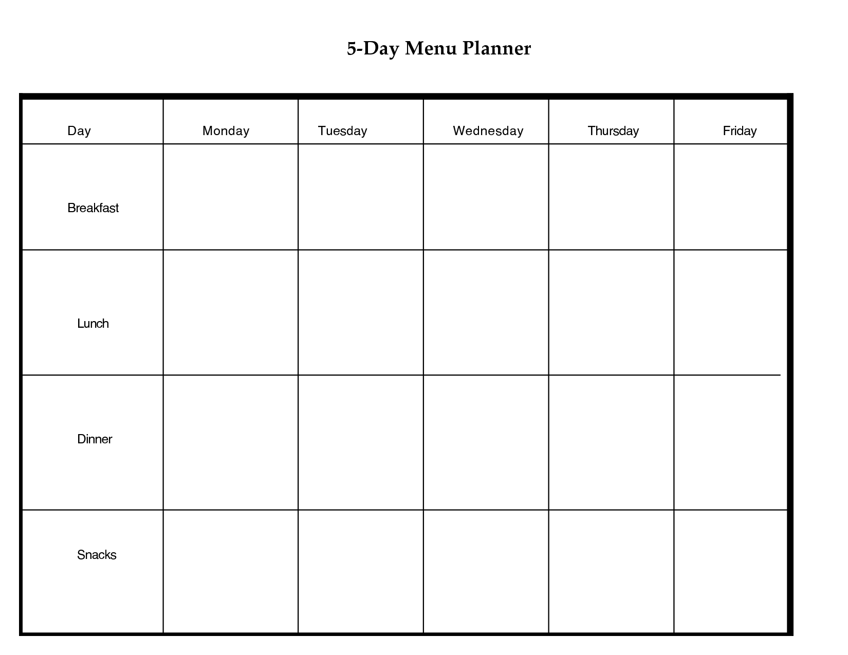 5 Day Weekly Planner Printable   Scope Of Work Template