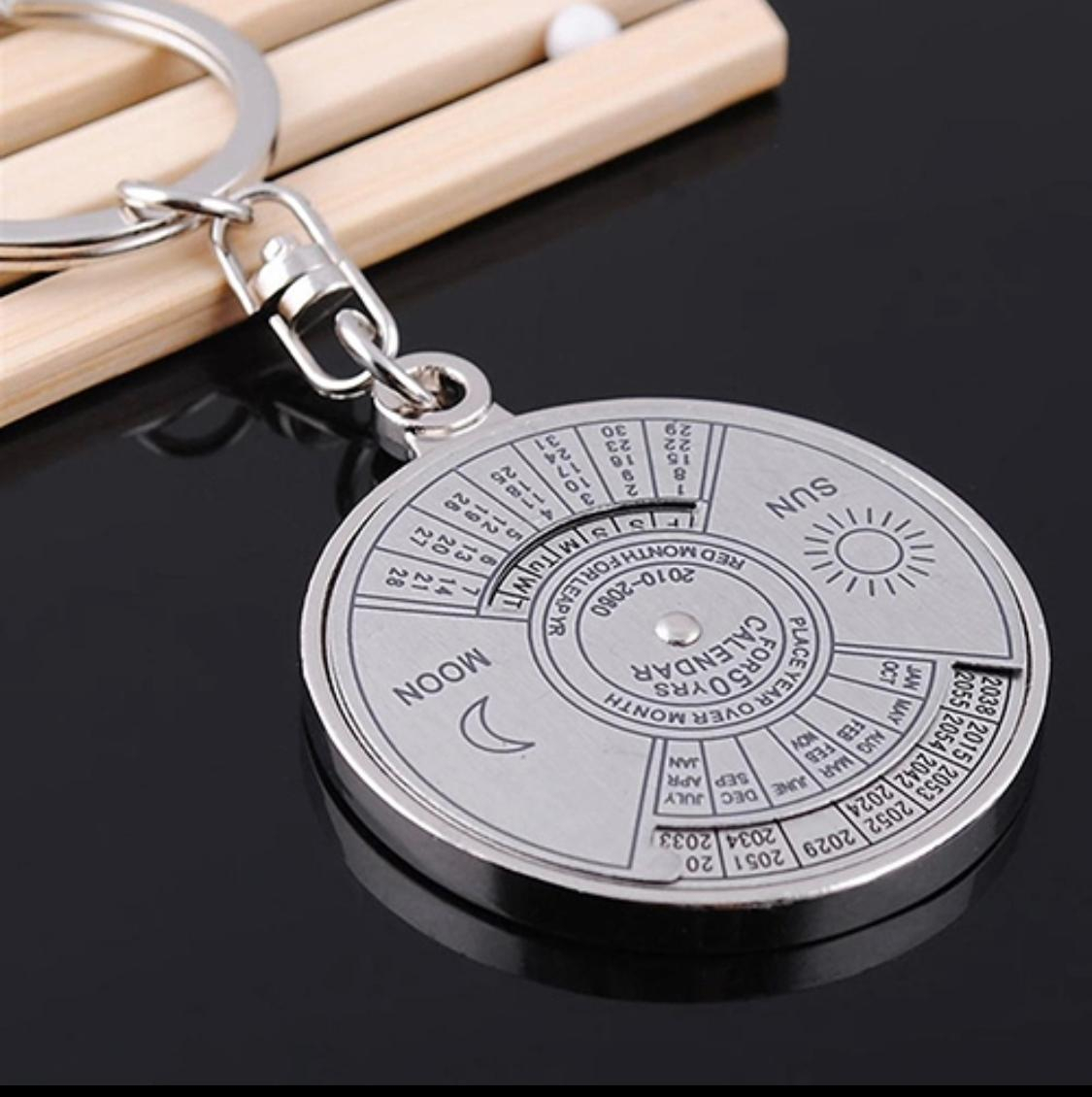 50 Years Perpetual Calendar Key Chain Silver Alloy